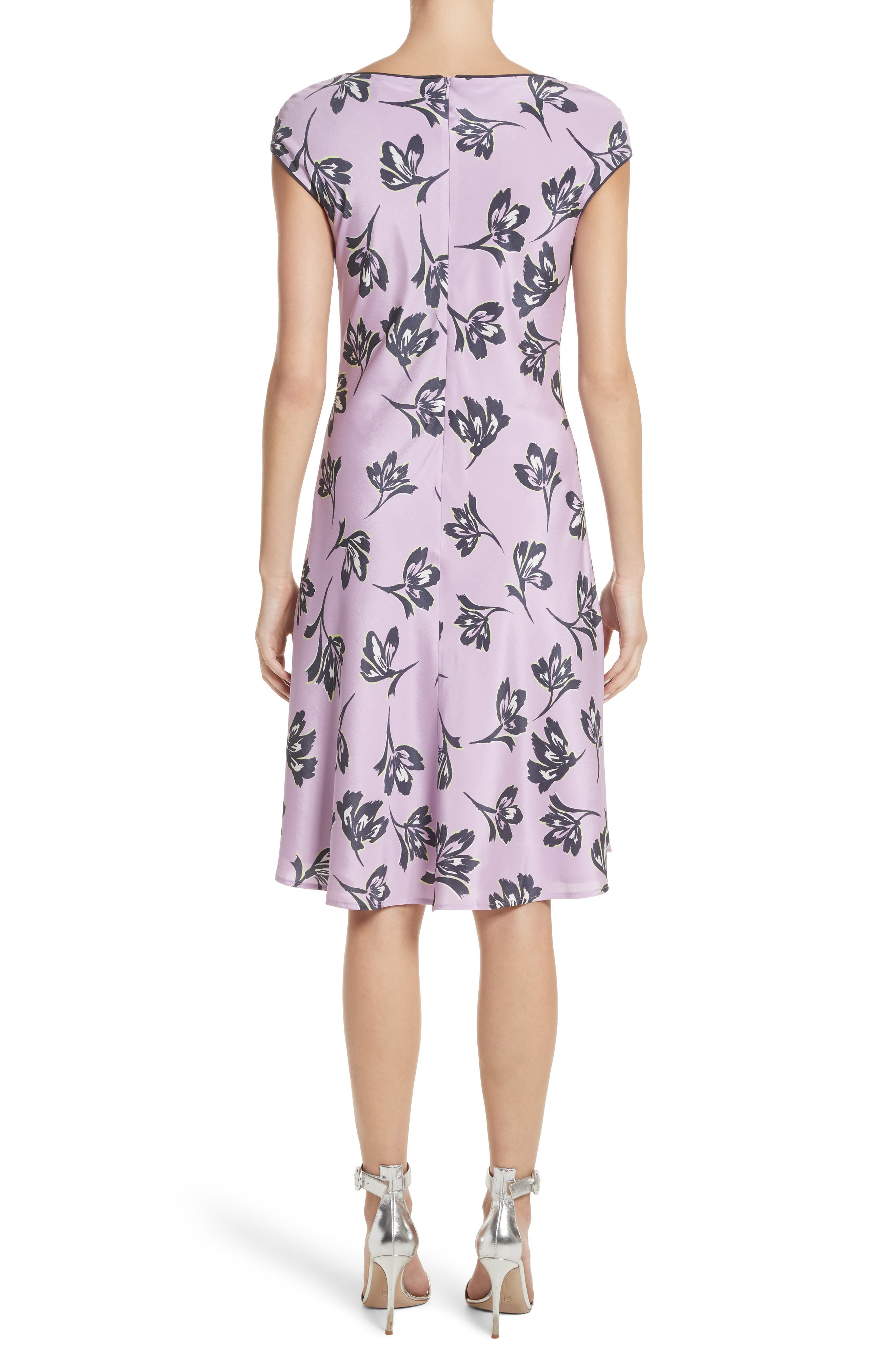 Floral Print Stretch Silk Dress,                             Alternate thumbnail 2, color,