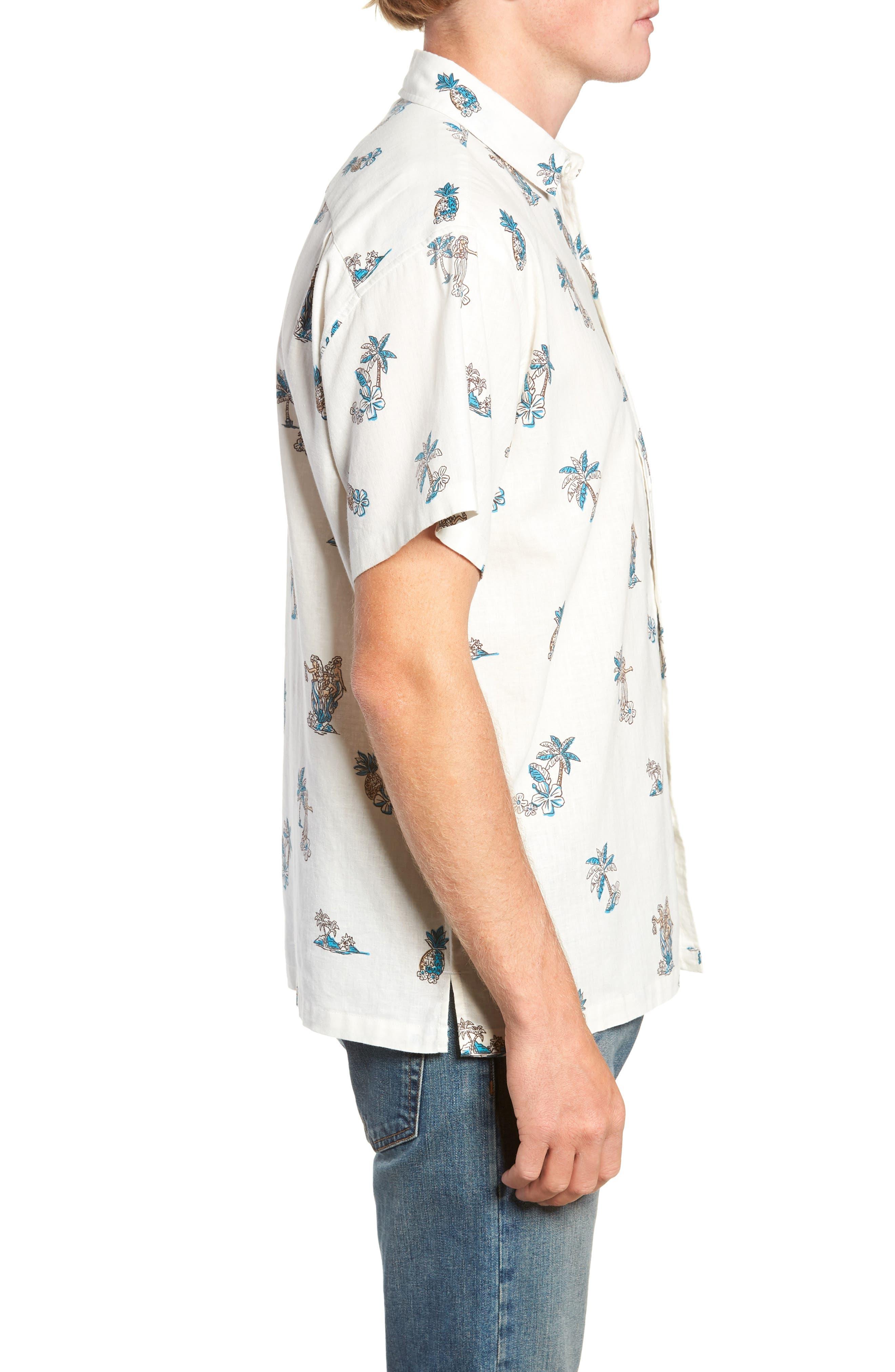 Moku Iki Classic Fit Linen & Cotton Sport Shirt,                             Alternate thumbnail 4, color,                             102