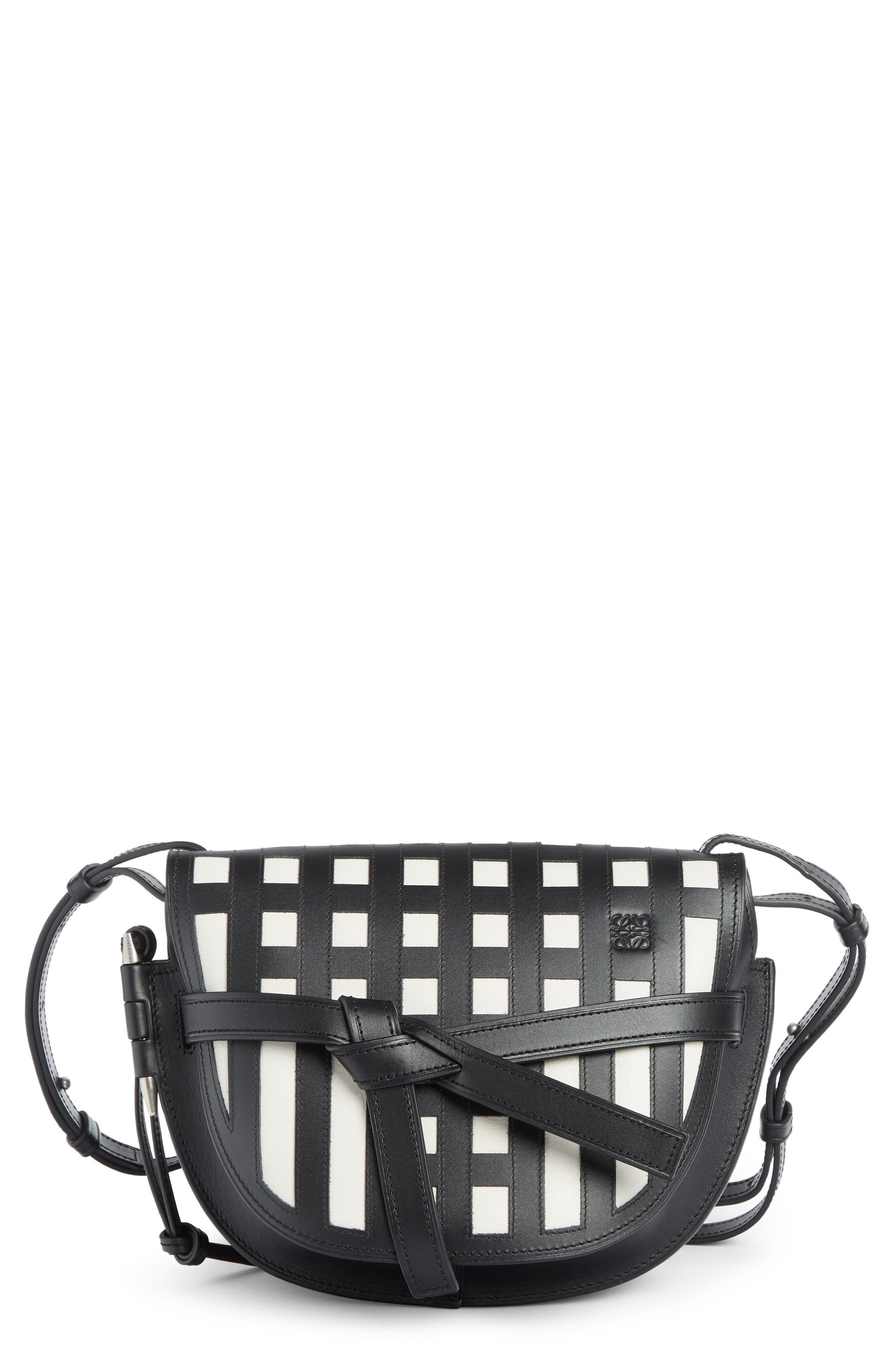 Small Gate Grid Leather Crossbody Bag,                             Main thumbnail 1, color,                             BLACK/ WHITE