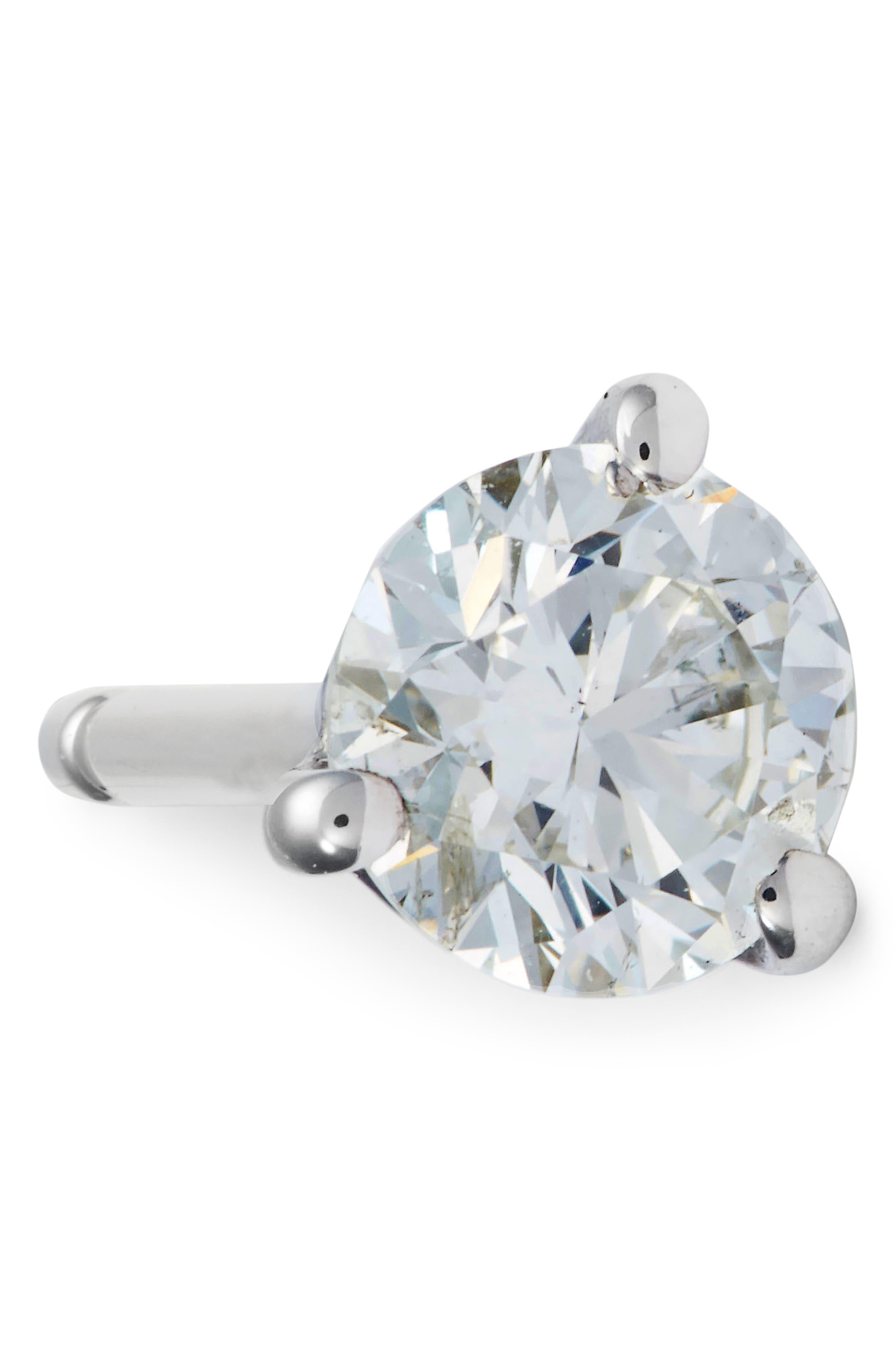 Single Diamond Stud Earring,                             Alternate thumbnail 5, color,                             WHITE GOLD 2