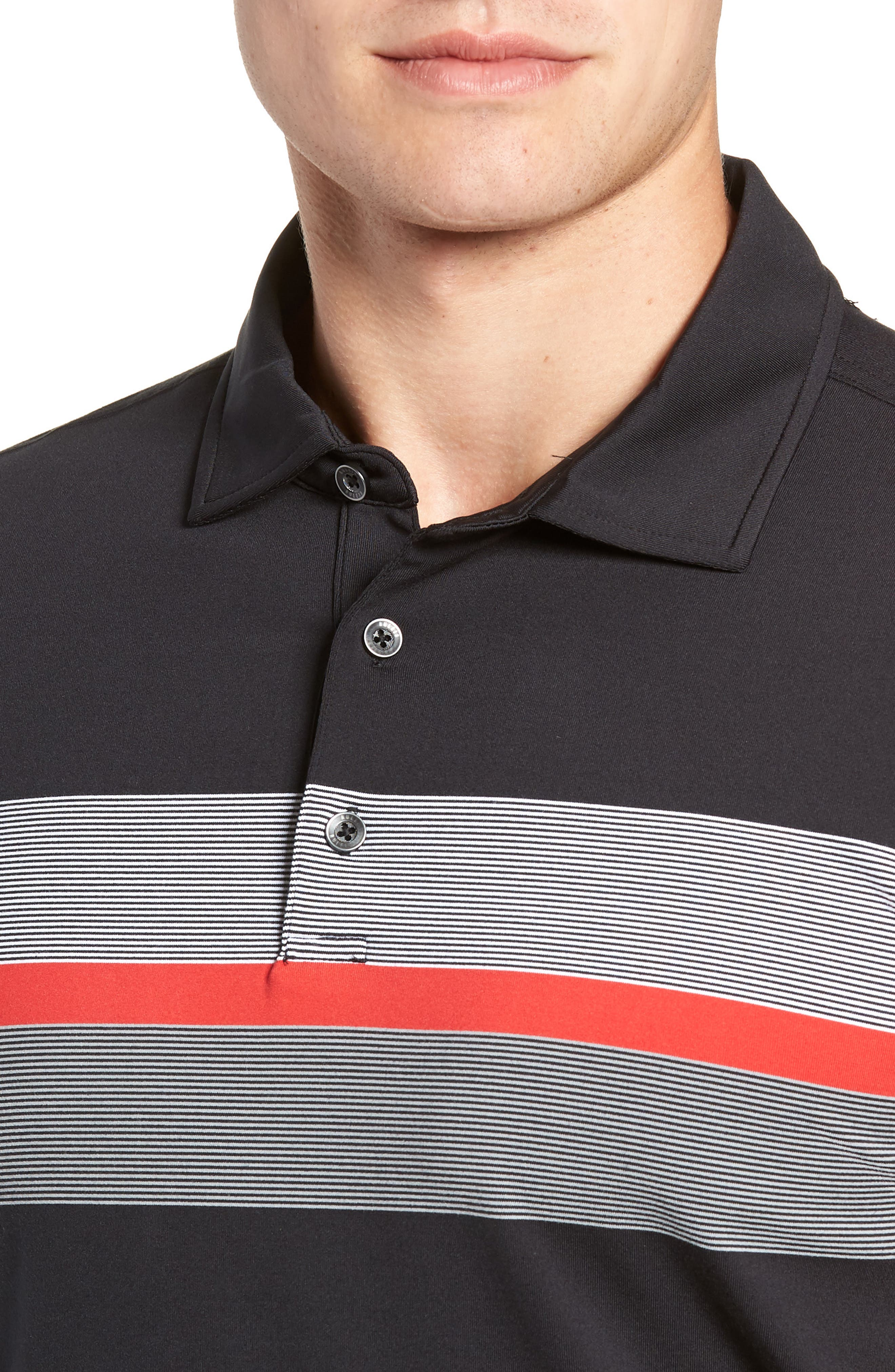 R18 Tech Daytona Stripe Golf Polo,                             Alternate thumbnail 4, color,                             BLACK