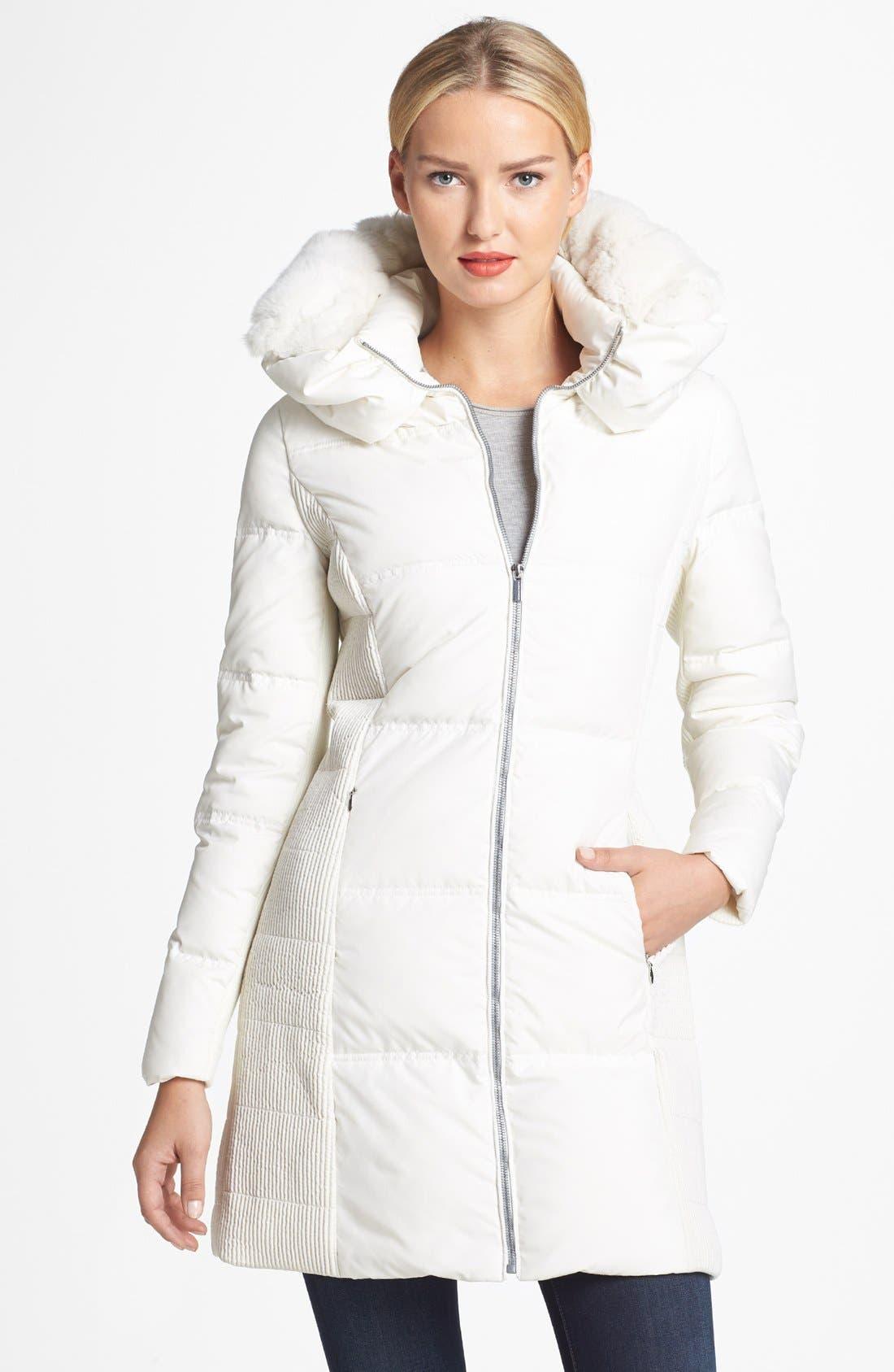 BCBGMAXAZRIA Genuine Rabbit Fur Trim Hooded Down Coat, Main, color, 151