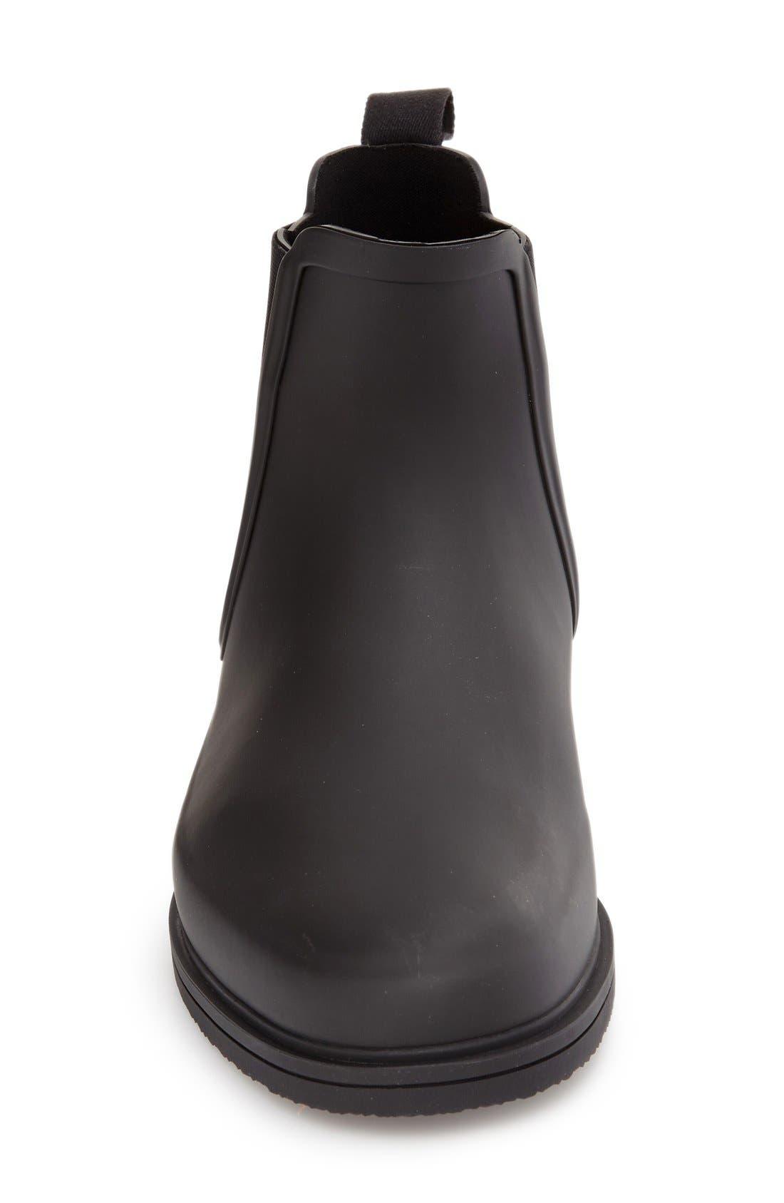 Original Refined Waterproof Chelsea Boot,                             Alternate thumbnail 4, color,                             BLACK RUBBER
