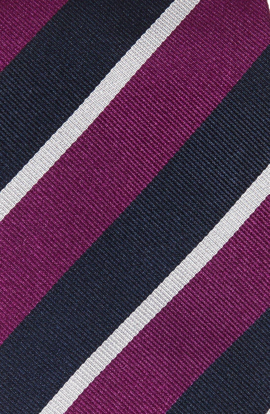 Stripe Silk Tie,                             Alternate thumbnail 2, color,                             PURPLE