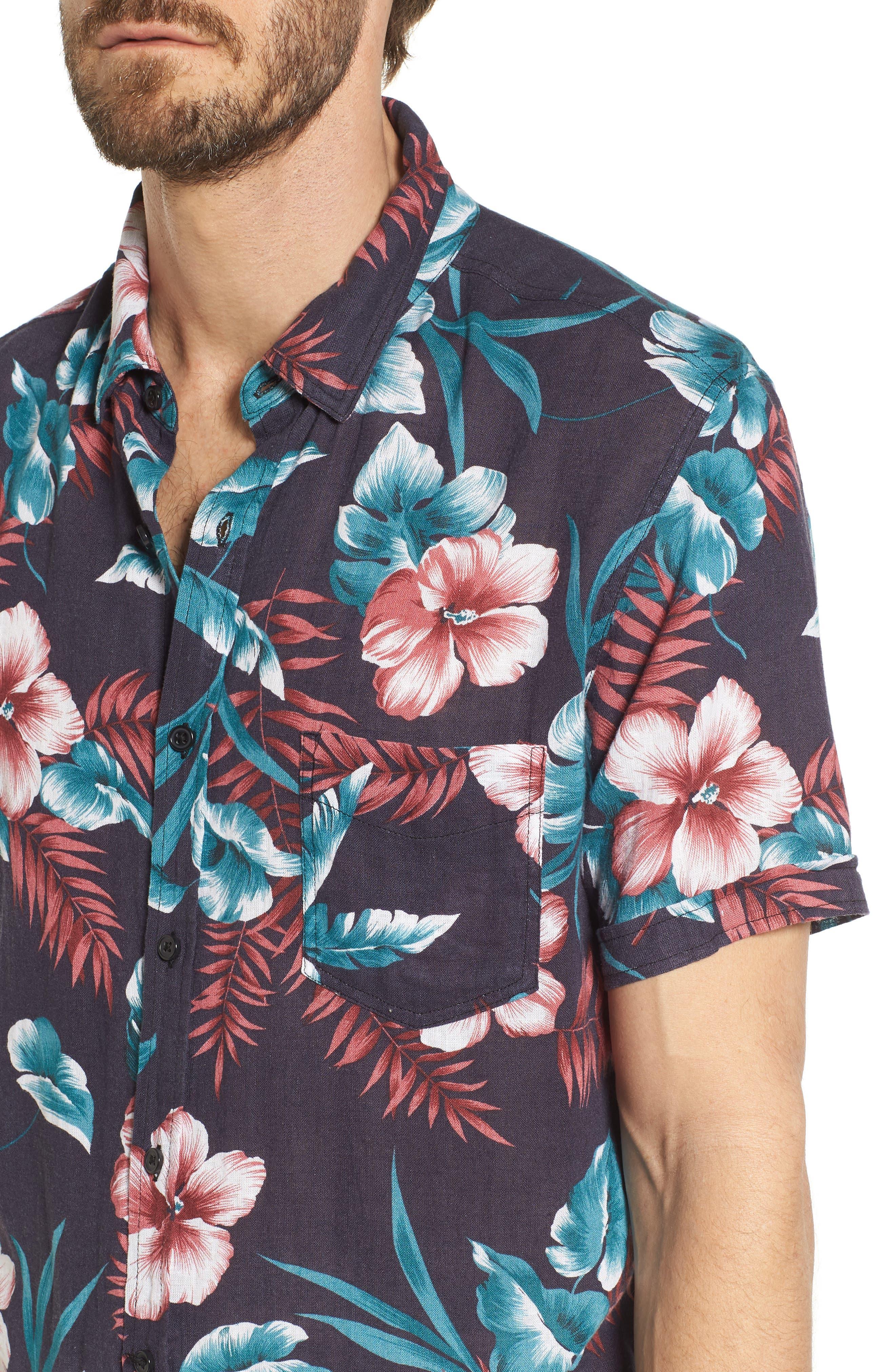 Carson Slim Fit Tropical Print Sport Shirt,                             Alternate thumbnail 4, color,                             001