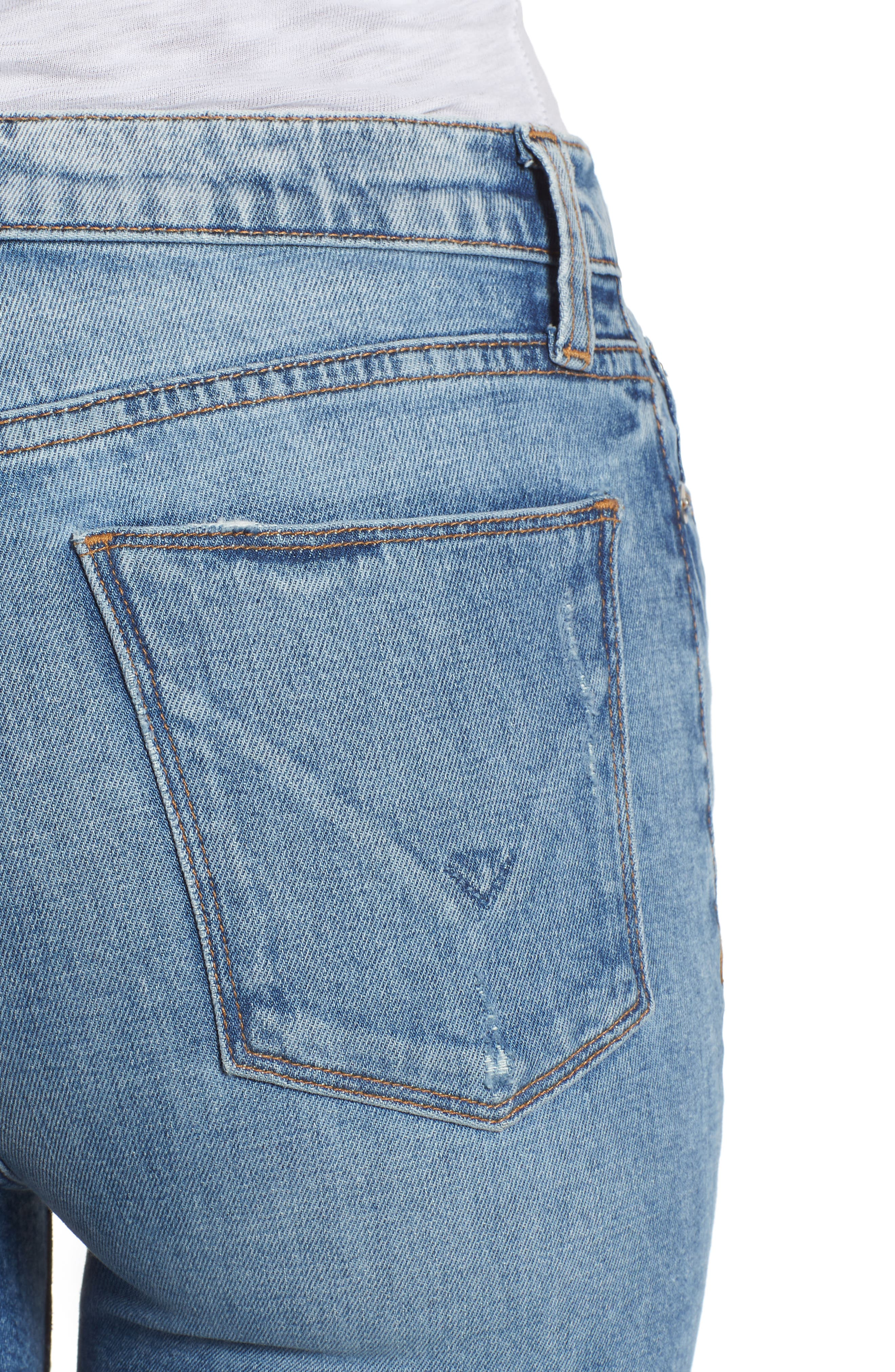 Zoeey High Waist Cutoff Boyfriend Shorts,                             Alternate thumbnail 4, color,                             JUST FOR KICKS