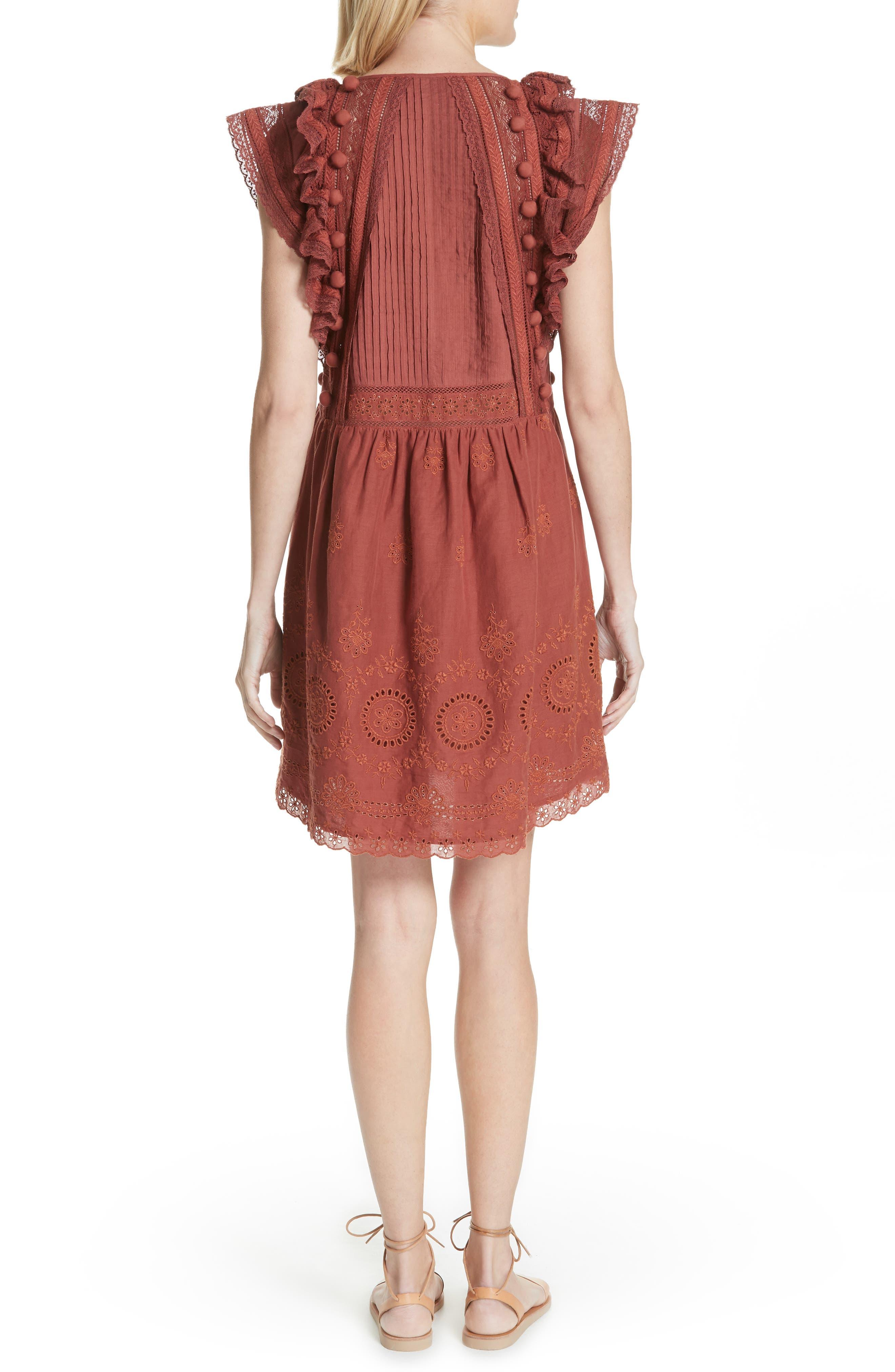 Sofie Lace & Pompom Dress,                             Alternate thumbnail 2, color,                             CLAY