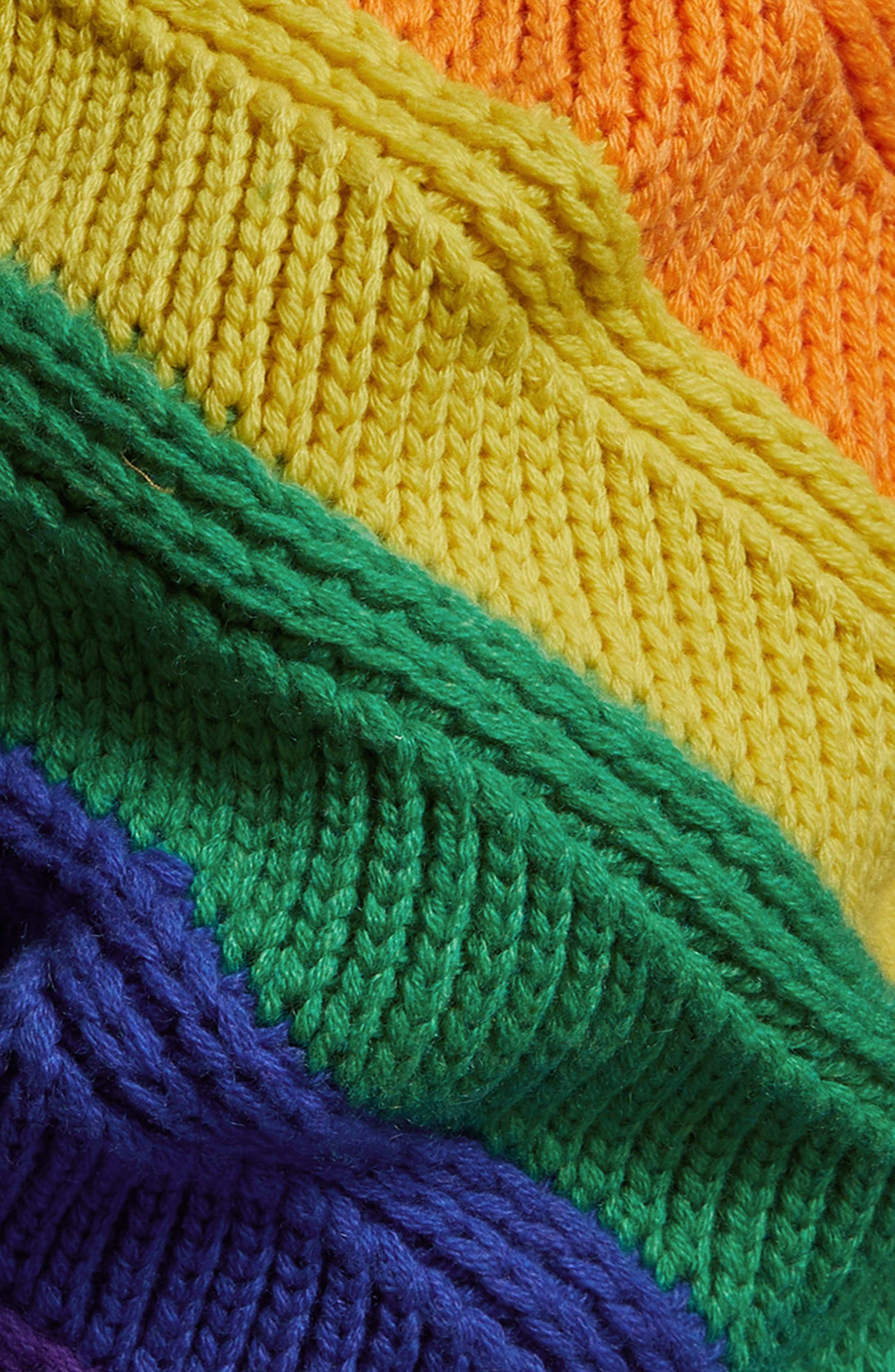 Rainbow Stripe Wool & Cashmere Knit Beanie,                             Alternate thumbnail 2, color,                             440