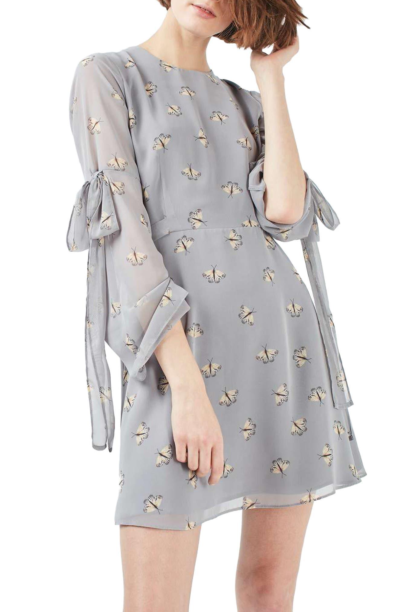 Moth Print Skater Dress,                         Main,                         color, 050