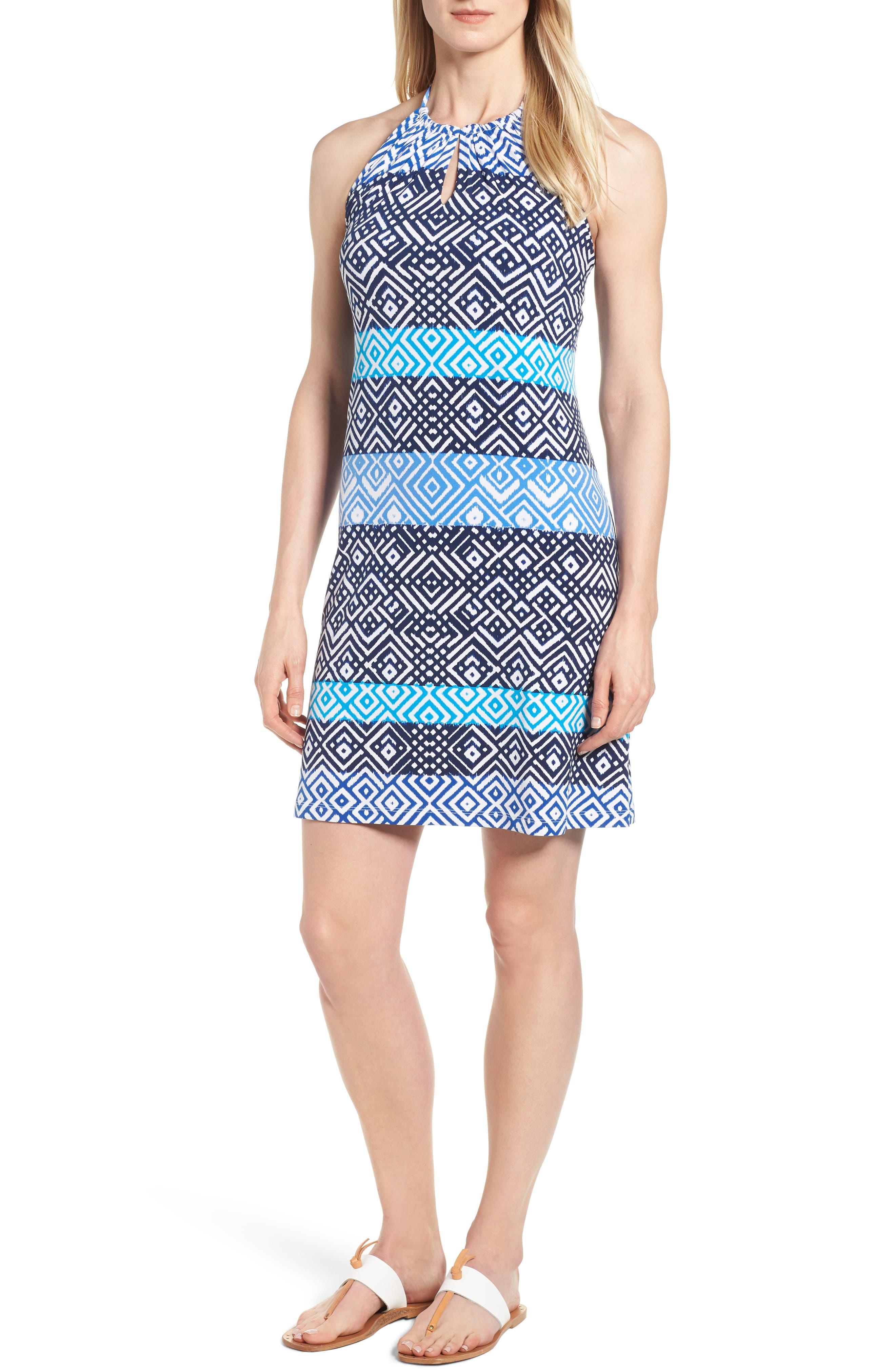 Tommy Bahama Mayan Maze Halter Dress, Blue