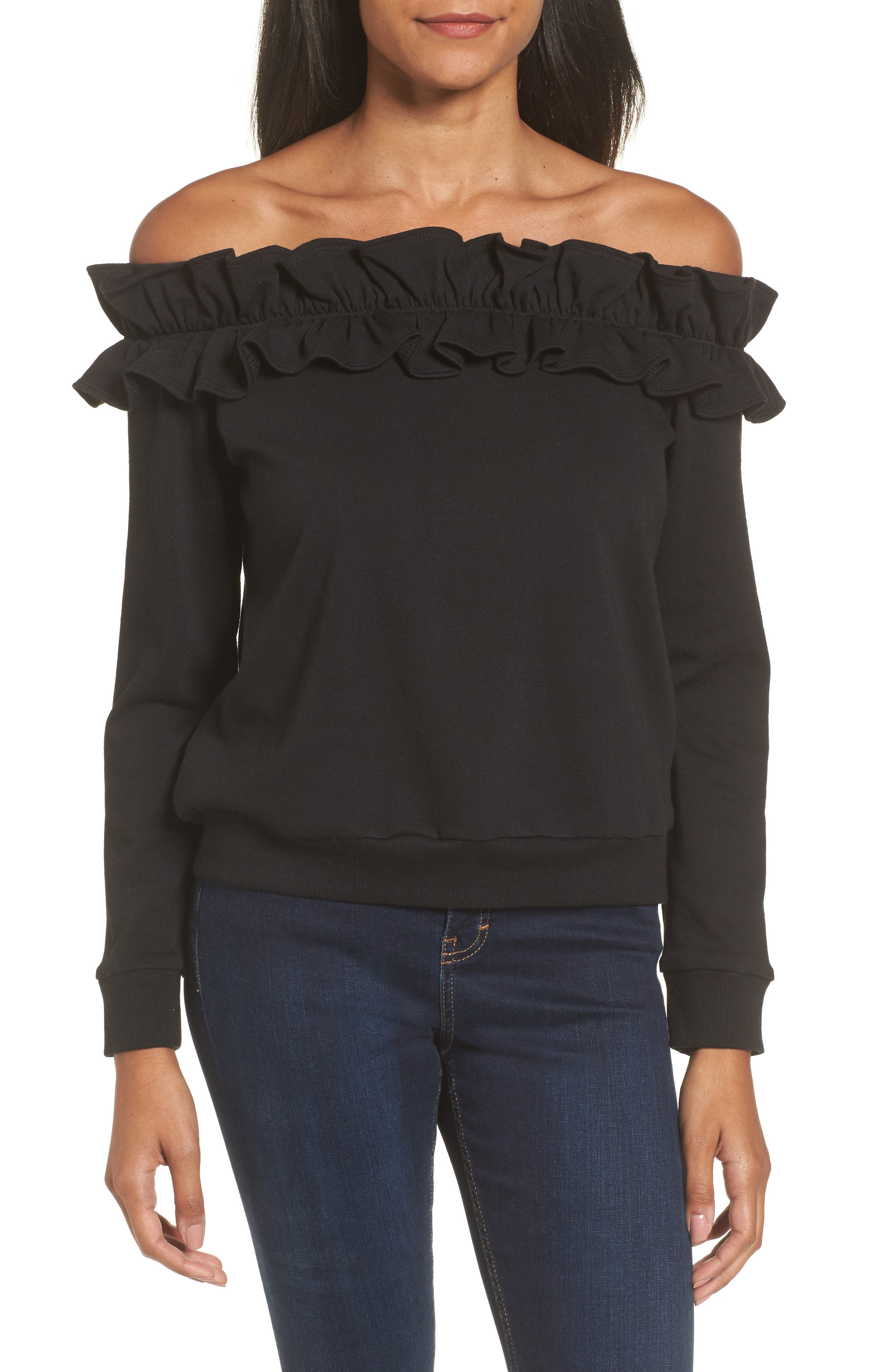 Ruffle Off the Shoulder Top,                             Main thumbnail 1, color,                             001