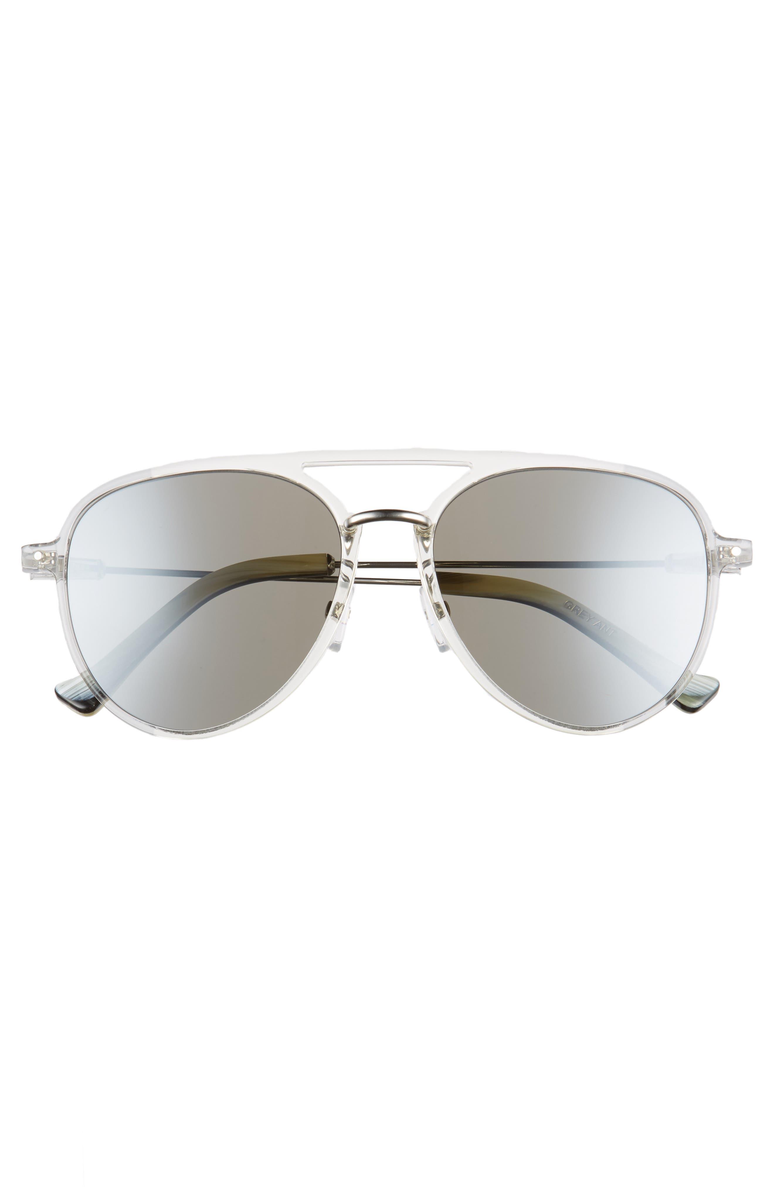 Praph 57mm Sunglasses,                             Alternate thumbnail 3, color,                             SILVER LENS/ CLEAR HARDWARE
