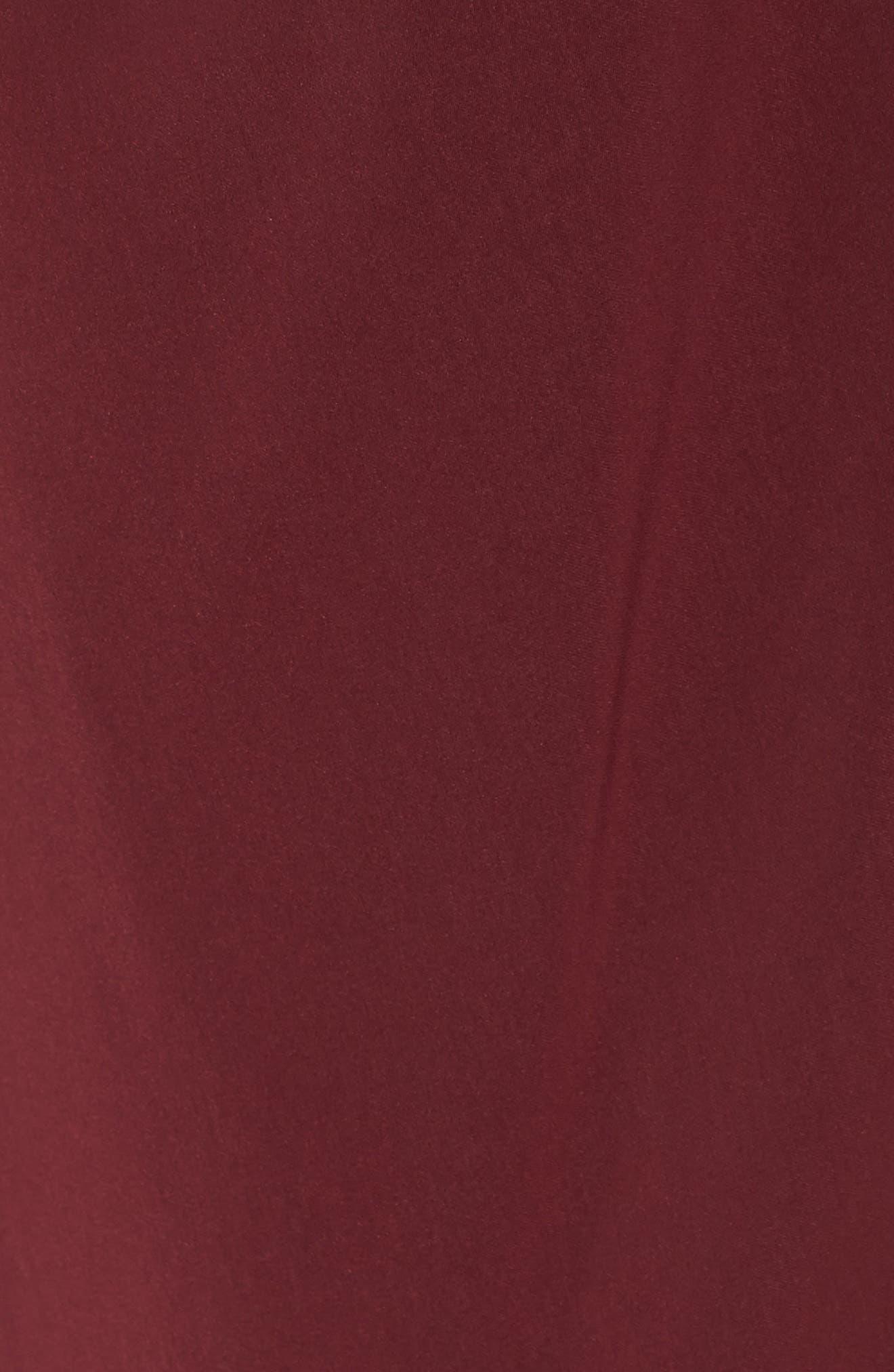 SHONA JOY,                             Knotted Tulip Hem Midi Dress,                             Alternate thumbnail 6, color,                             BURGUNDY