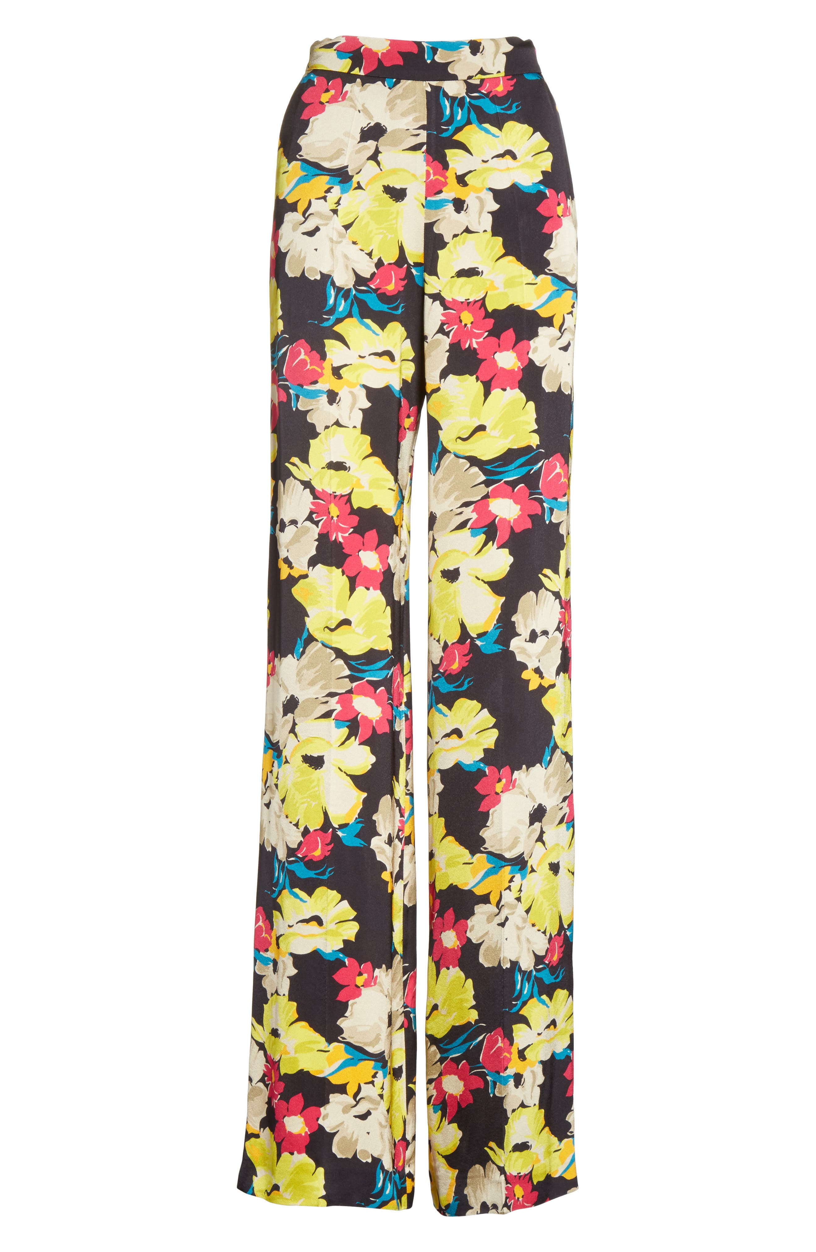 Floral Print Wide Leg Pants,                             Alternate thumbnail 6, color,                             001