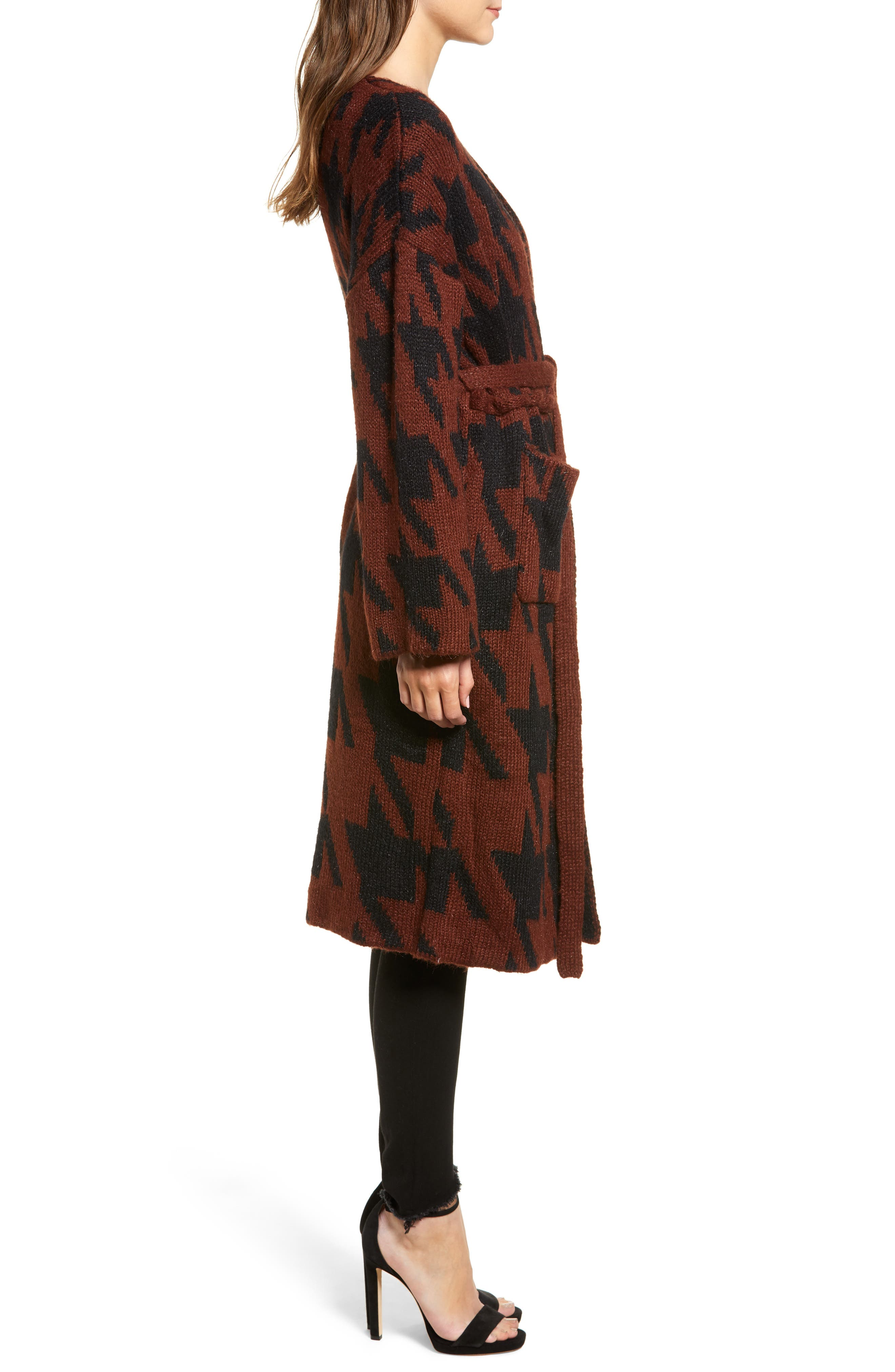 Houndstooth Belted Cardigan,                             Alternate thumbnail 3, color,                             RUST/ BLACK