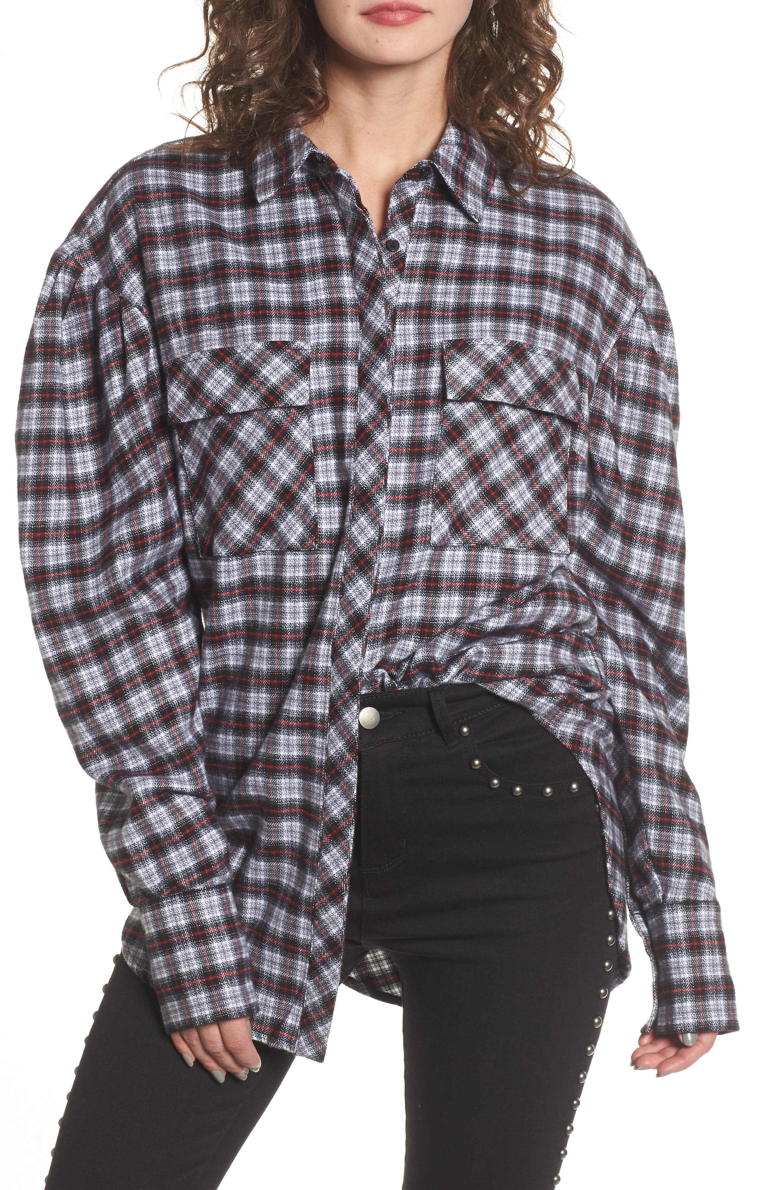 Victoria Oversize Flannel Shirt,                             Main thumbnail 1, color,                             001