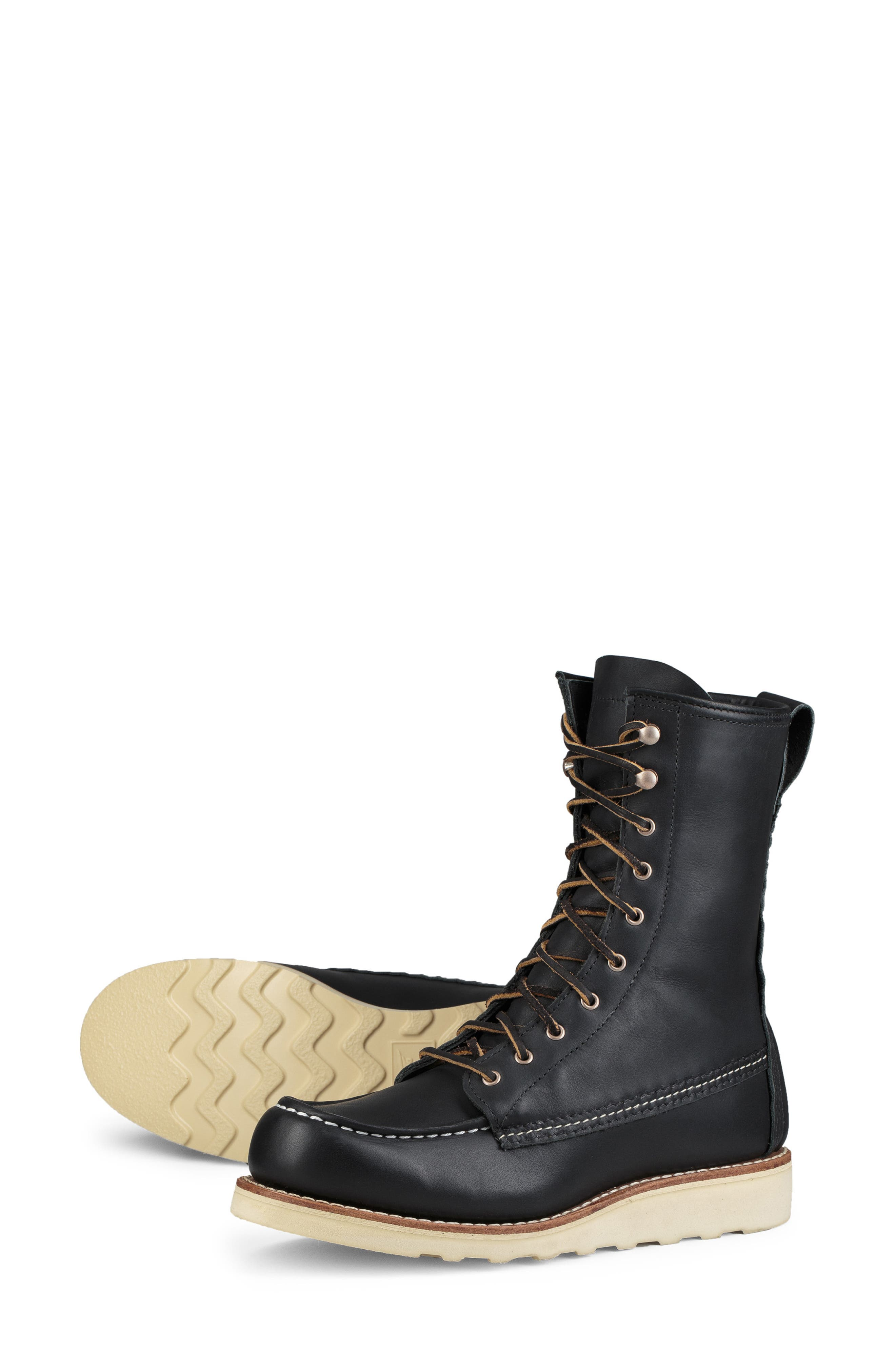RED WING,                             8-Inch Moc Boot,                             Alternate thumbnail 5, color,                             BLACK BOUNDARY LEATHER