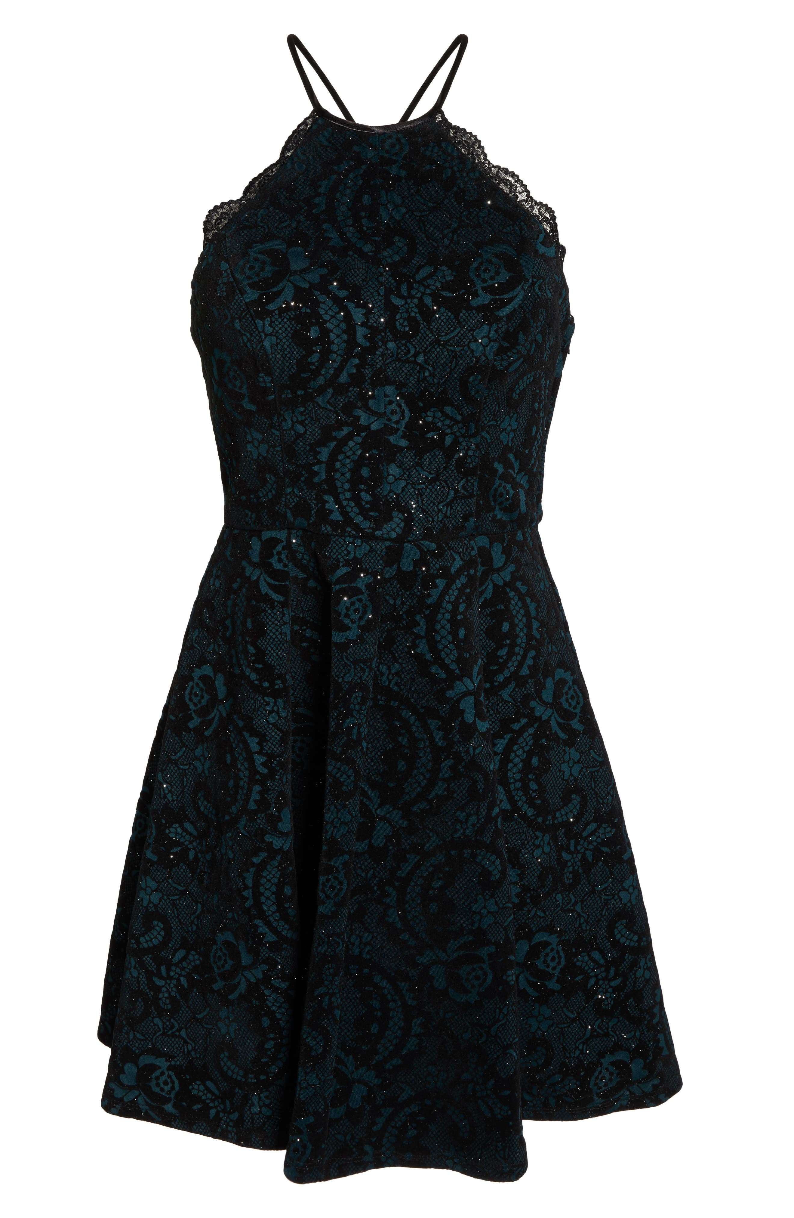 Flocked Fit & Flare Party Dress,                             Alternate thumbnail 7, color,                             BLACK/ TEAL