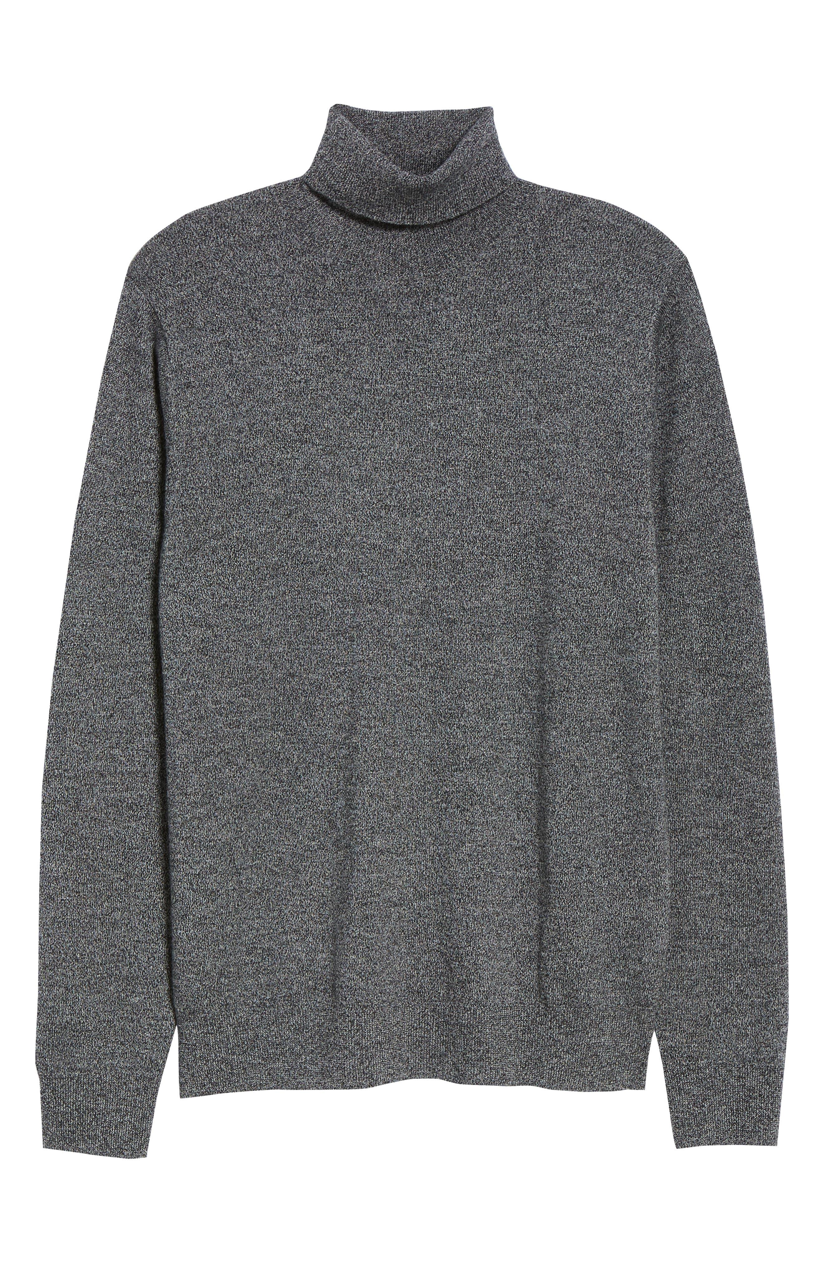 Slim Fit Turtleneck Merino Wool Sweater,                             Alternate thumbnail 6, color,                             CHARCOAL MARL