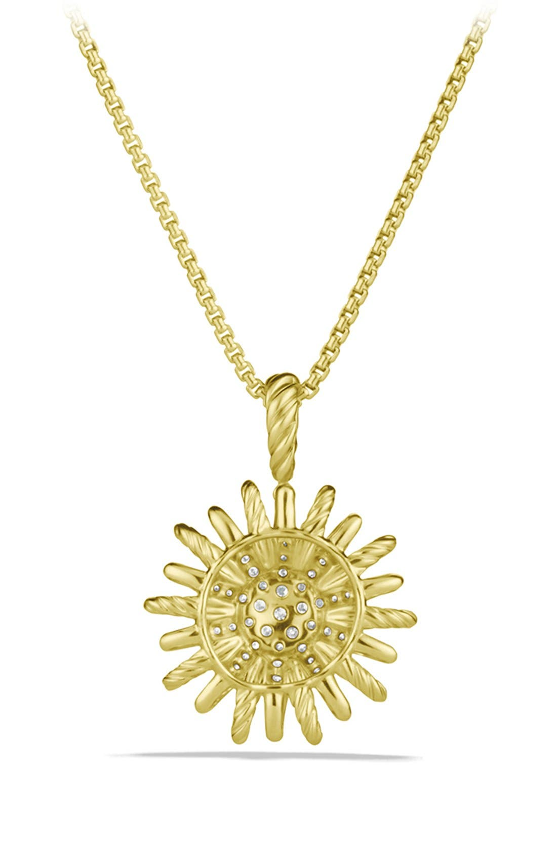 'Starburst' Small Pendant with Diamonds in Gold on Chain,                             Alternate thumbnail 3, color,                             DIAMOND