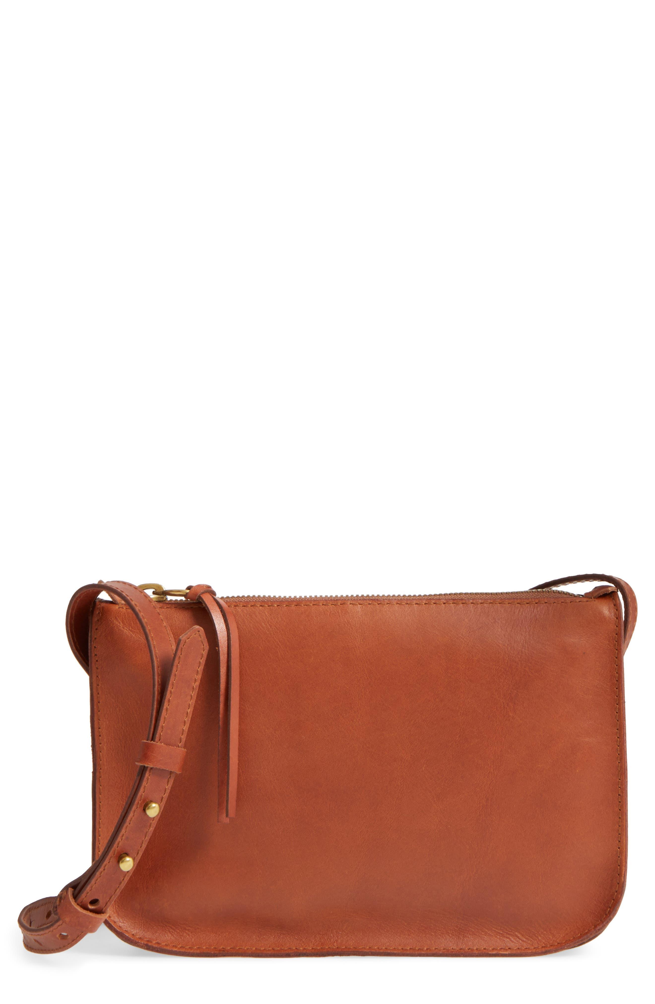 The Simple Leather Crossbody Bag,                             Main thumbnail 1, color,                             ENGLISH SADDLE