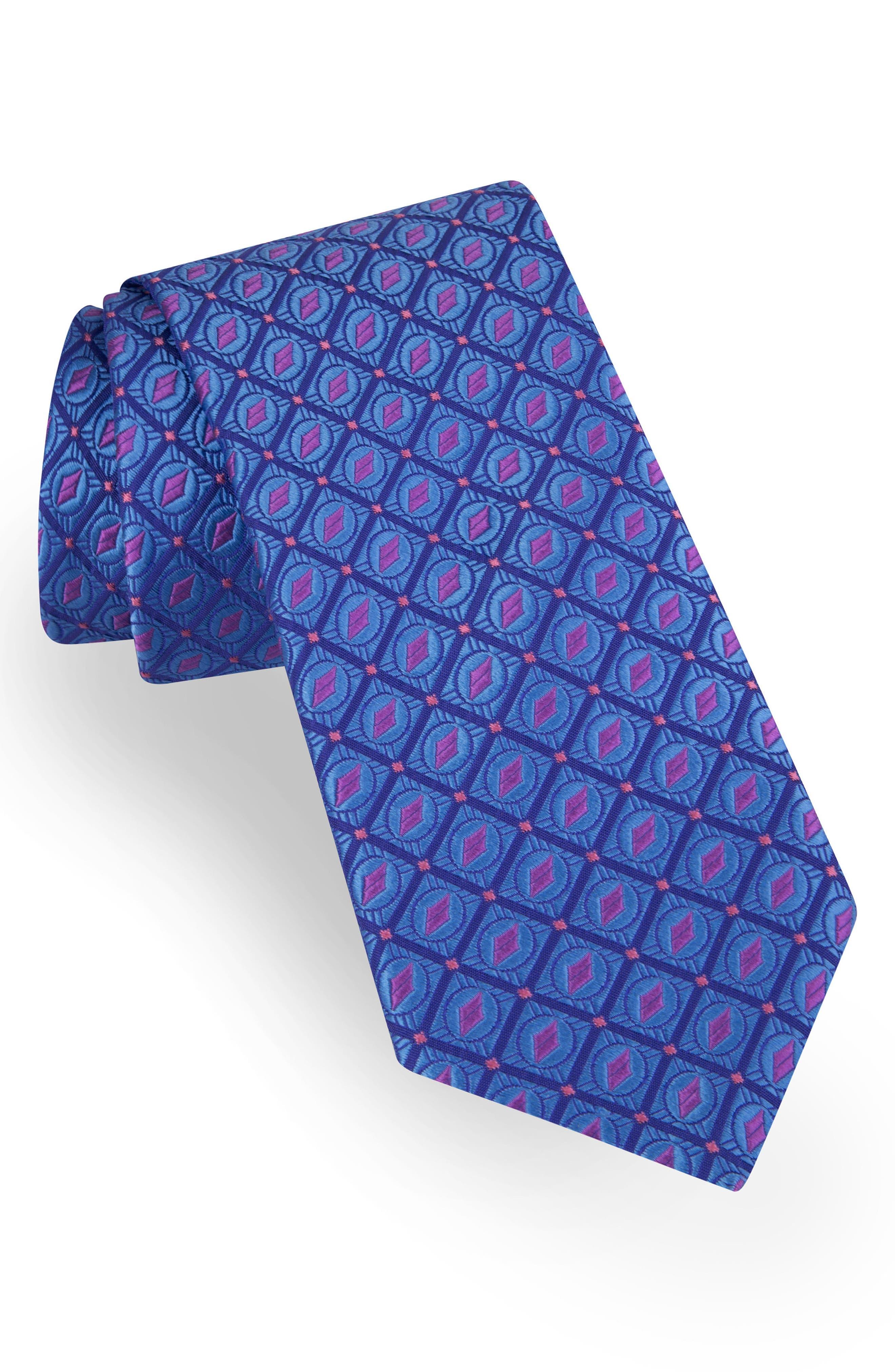 Geometric Silk Tie,                         Main,                         color, 455