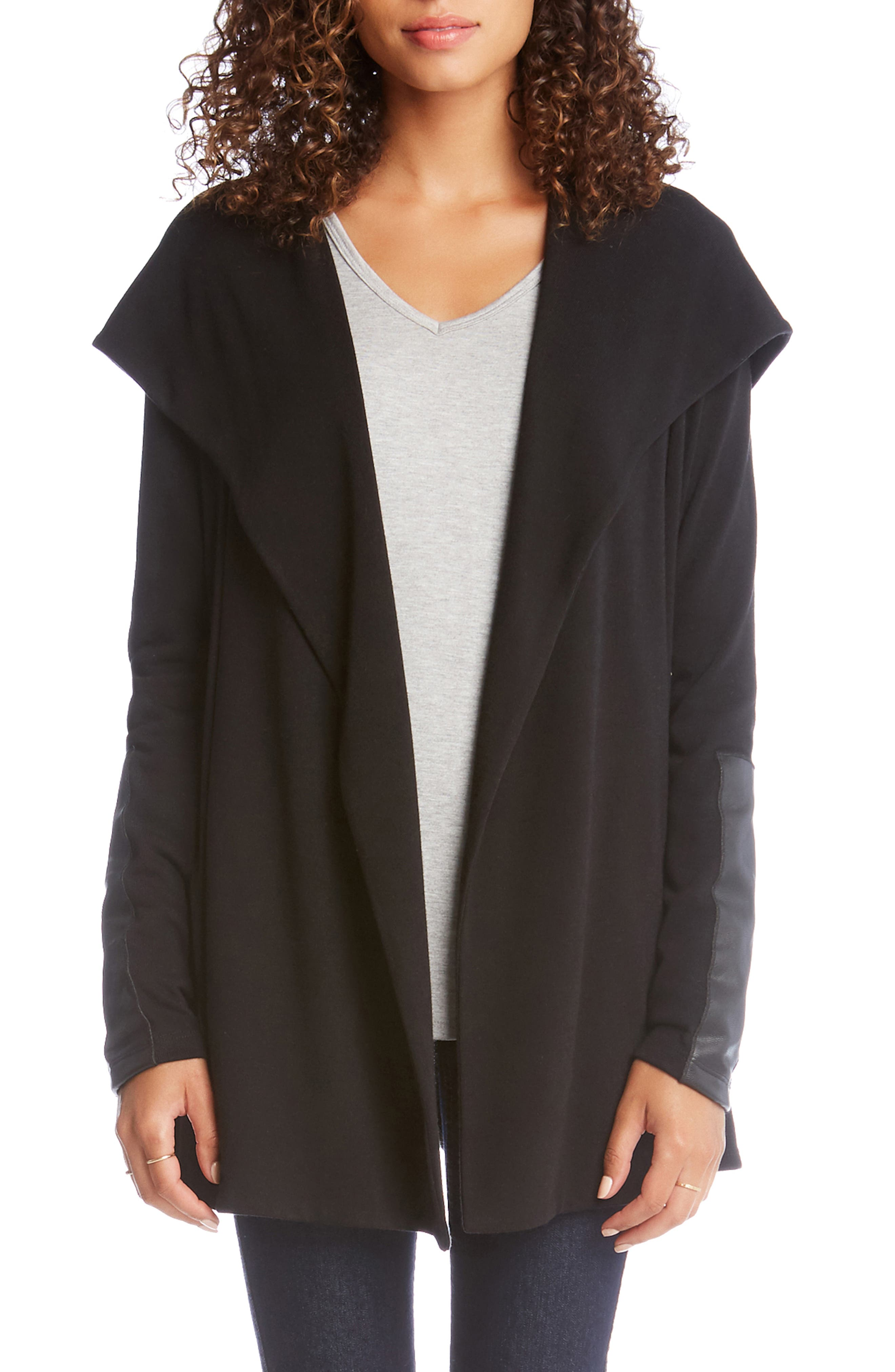 Faux Leather Detail Jacket,                         Main,                         color, 001