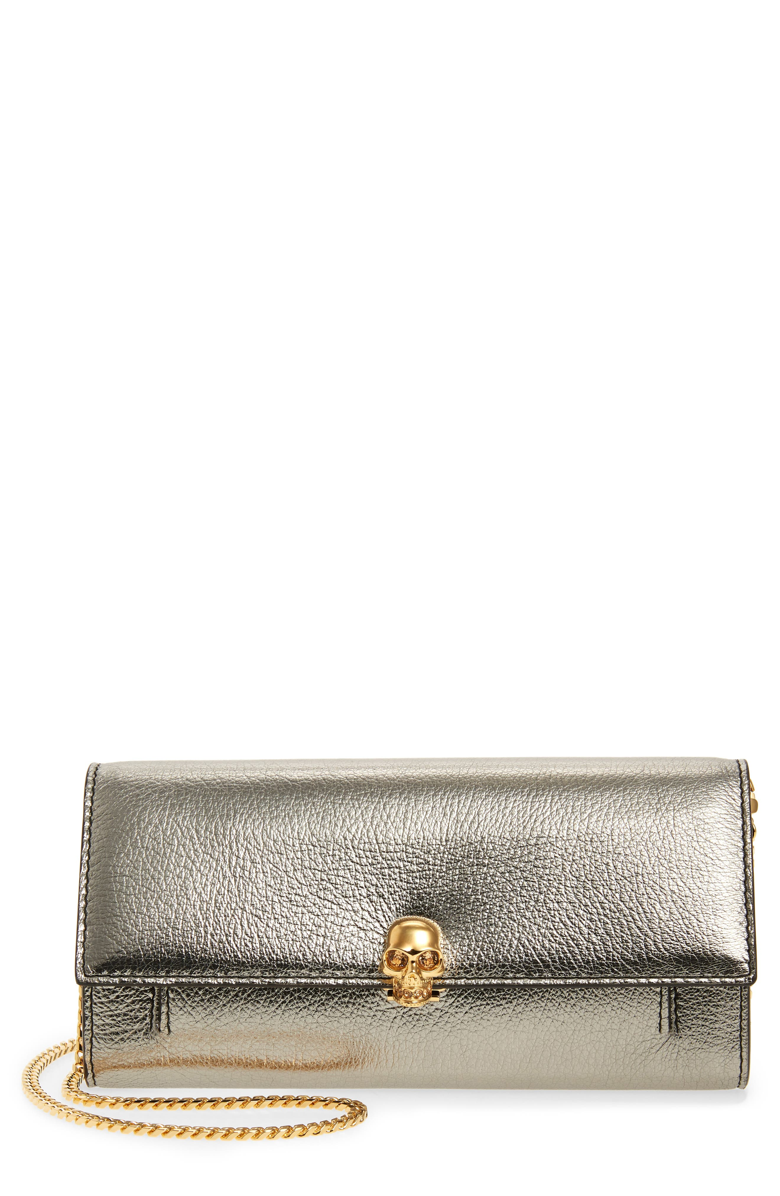 ALEXANDER MCQUEEN,                             Skull Metallic Leather Wallet on a Chain,                             Main thumbnail 1, color,                             GUN METAL