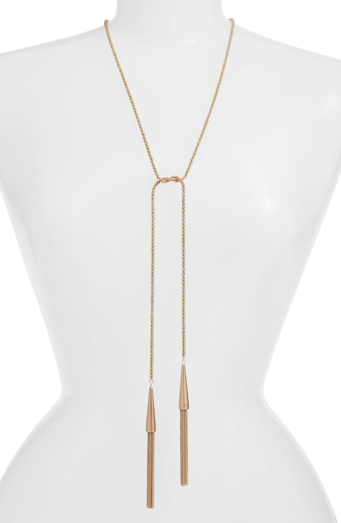'Phara' Tassel Lariat Necklace,                             Main thumbnail 1, color,                             ROSE GOLD