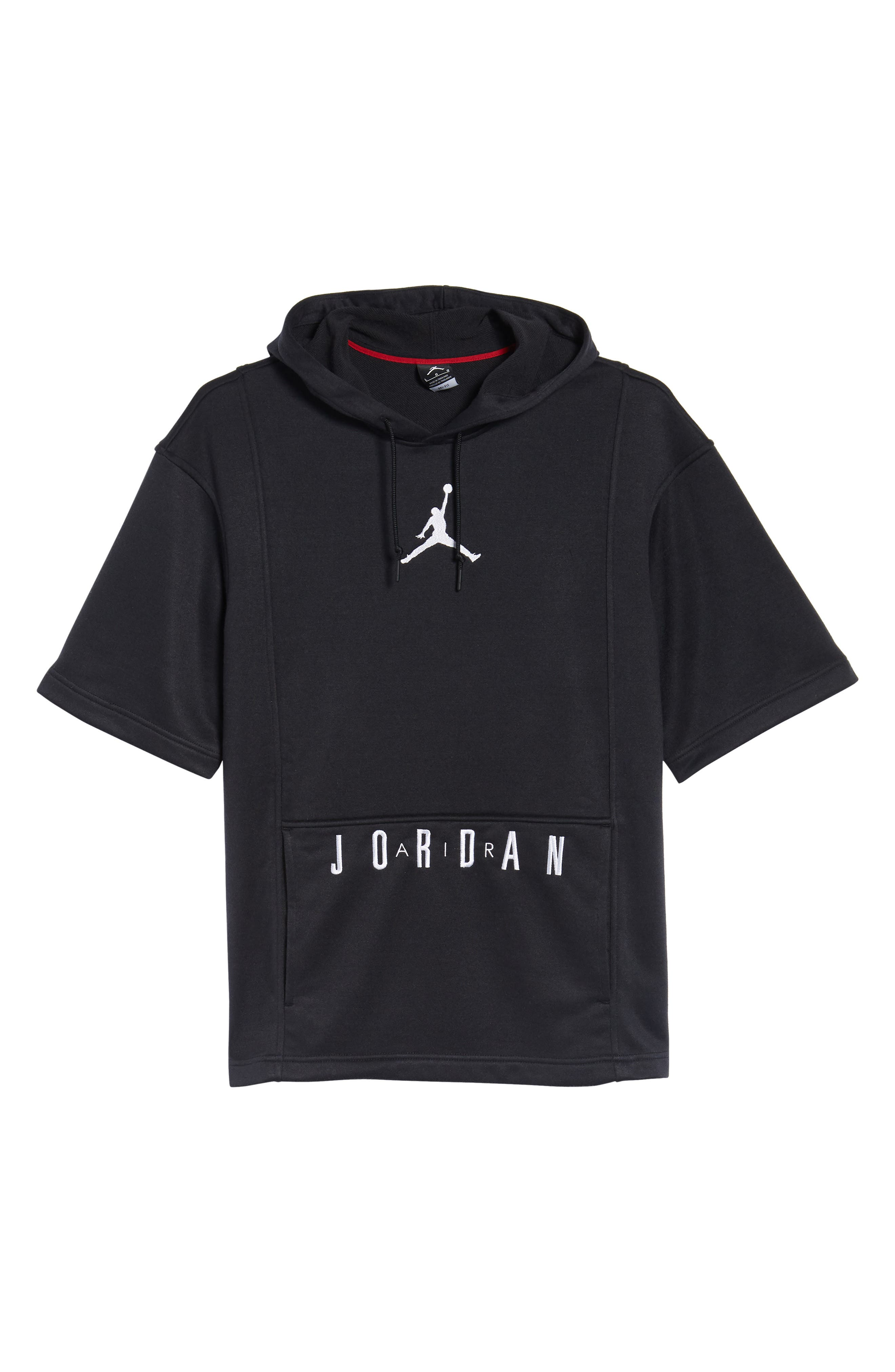 Nike Air Jordon Short Sleeve Basketball Hoodie,                             Alternate thumbnail 6, color,                             BLACK/ WHITE