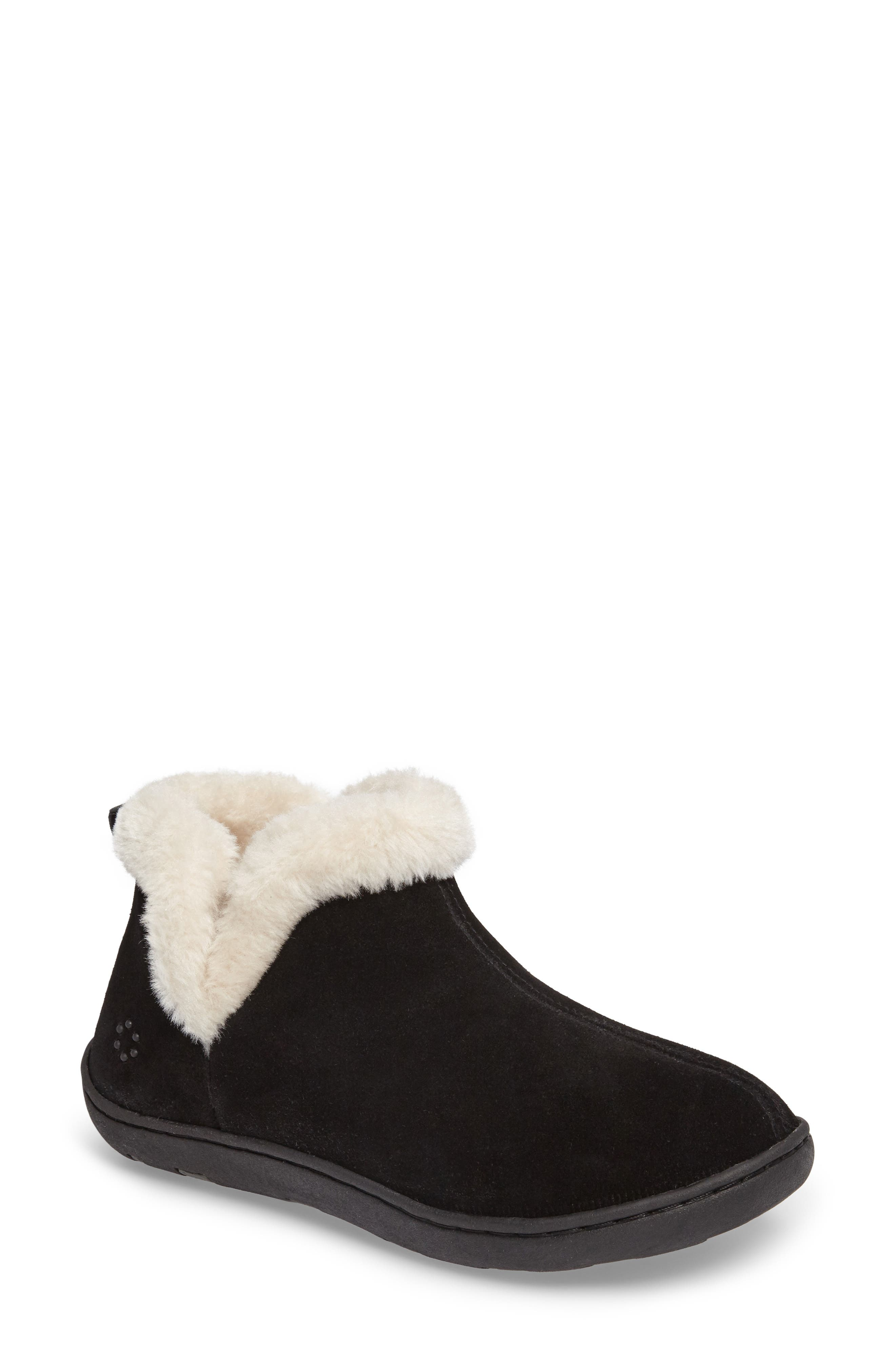 Vallery Bootie Slipper,                             Main thumbnail 1, color,                             BLACK SUEDE