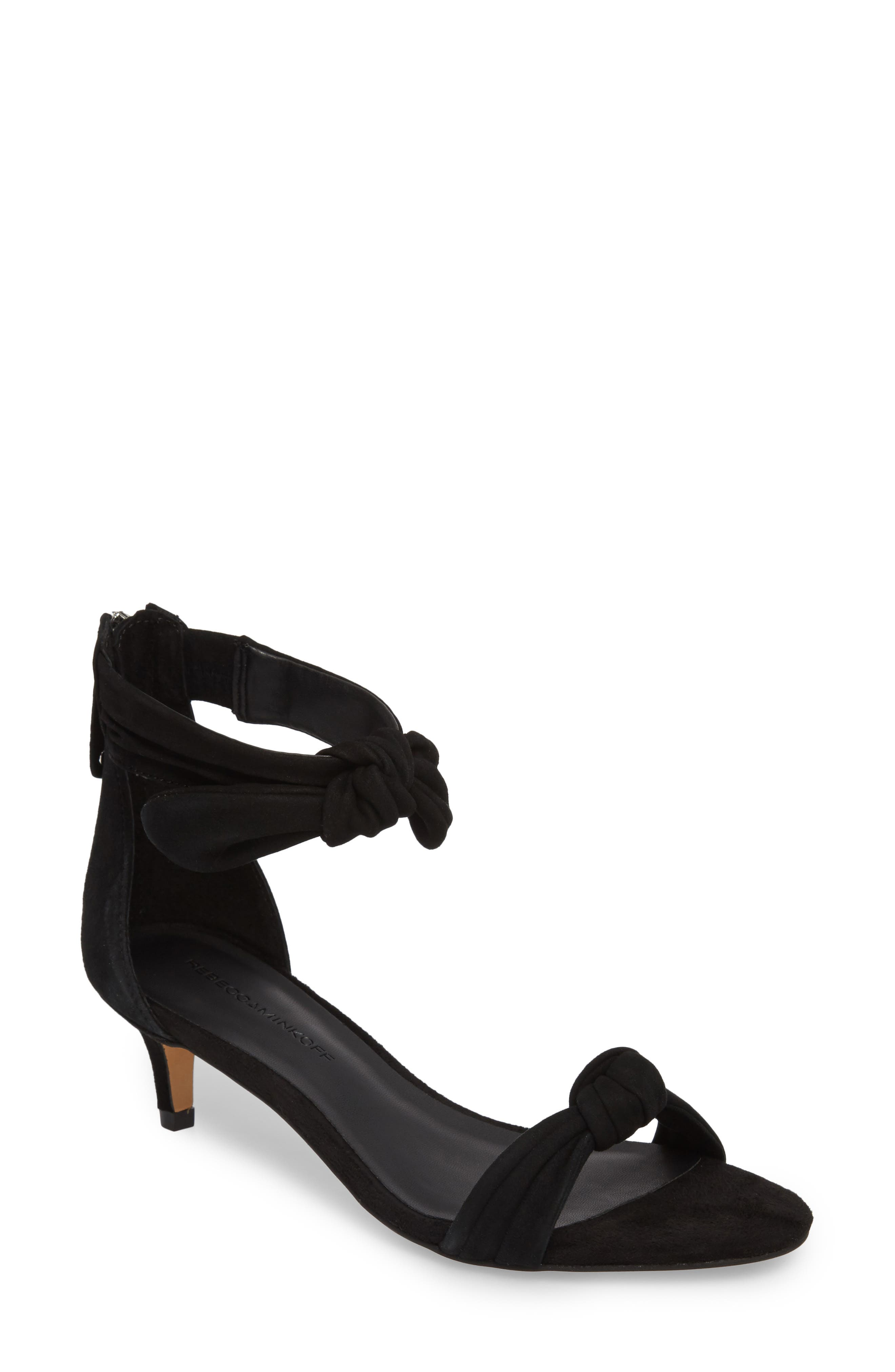 Kaley Knotted Kitten Heel Sandal,                             Main thumbnail 1, color,                             BLACK SUEDE