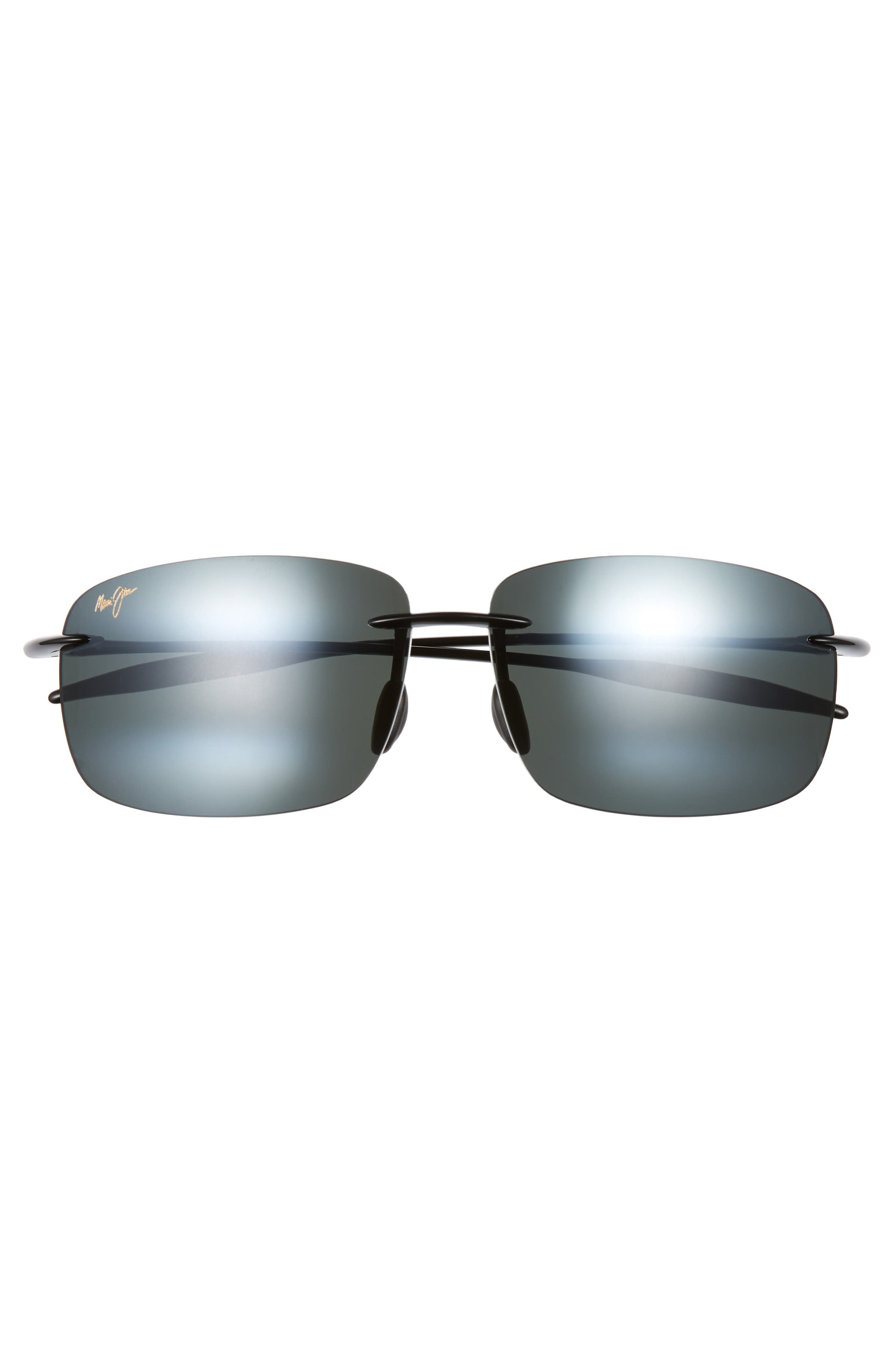 'Breakwall - PolarizedPlus<sup>®</sup>2' 63mm Sunglasses,                             Alternate thumbnail 3, color,                             BLACK GLOSS