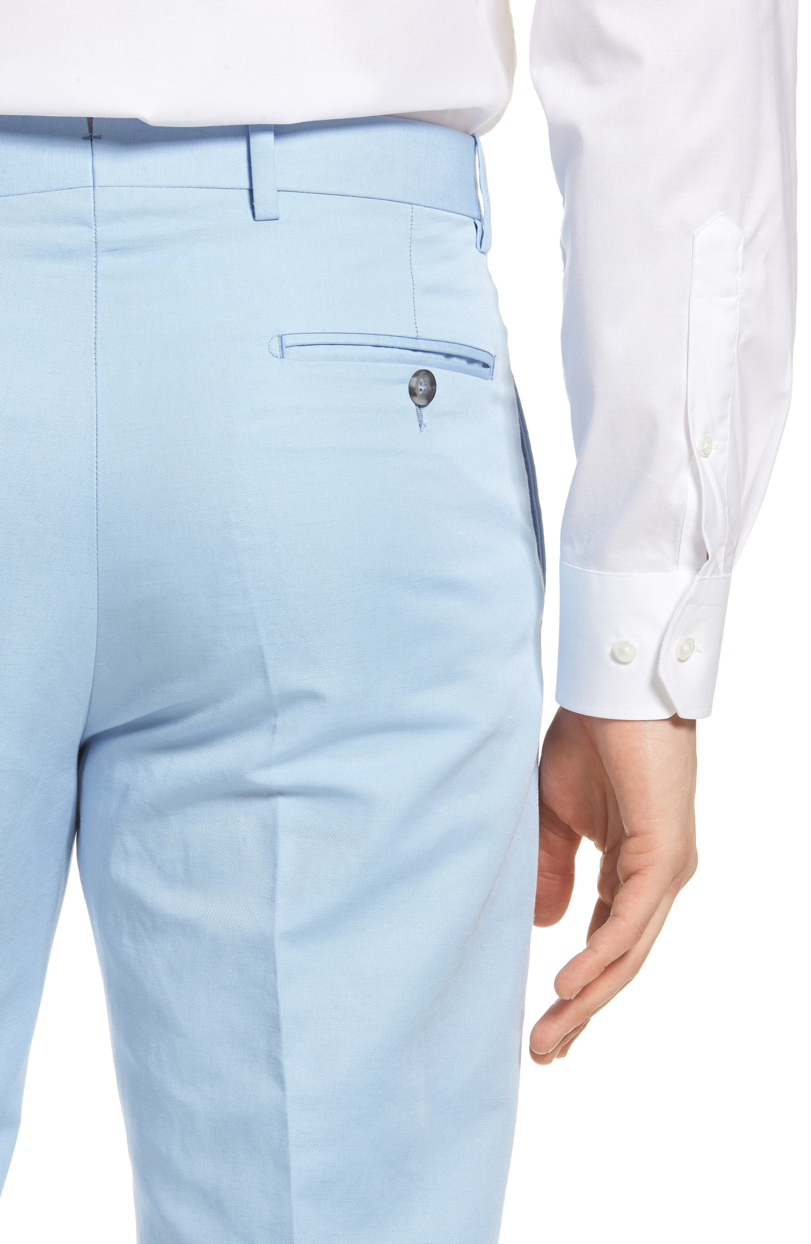 Flat Front Solid Cotton & Linen Trousers,                             Alternate thumbnail 19, color,