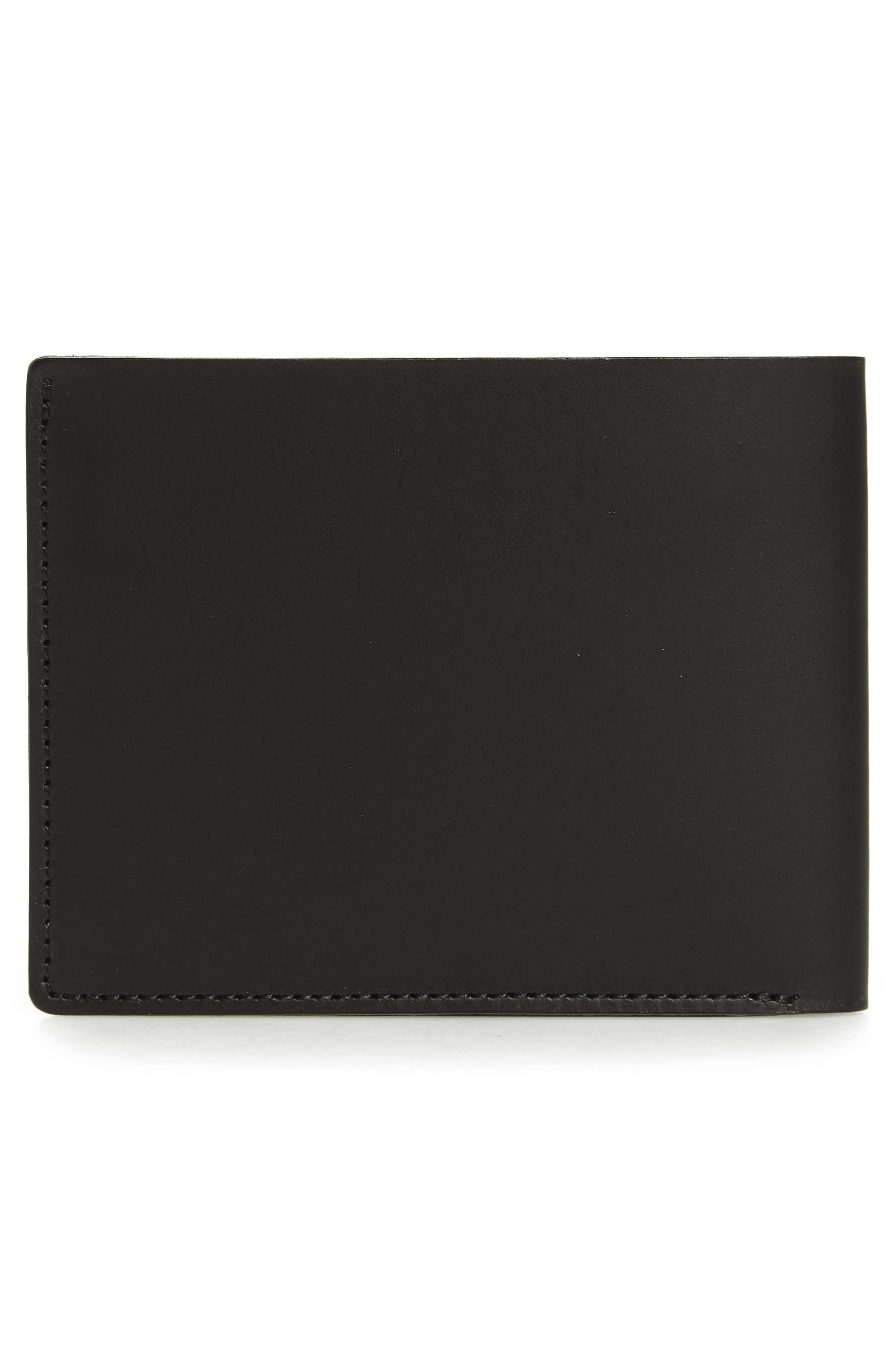 Bifold Leather Wallet,                             Alternate thumbnail 3, color,                             BLACK