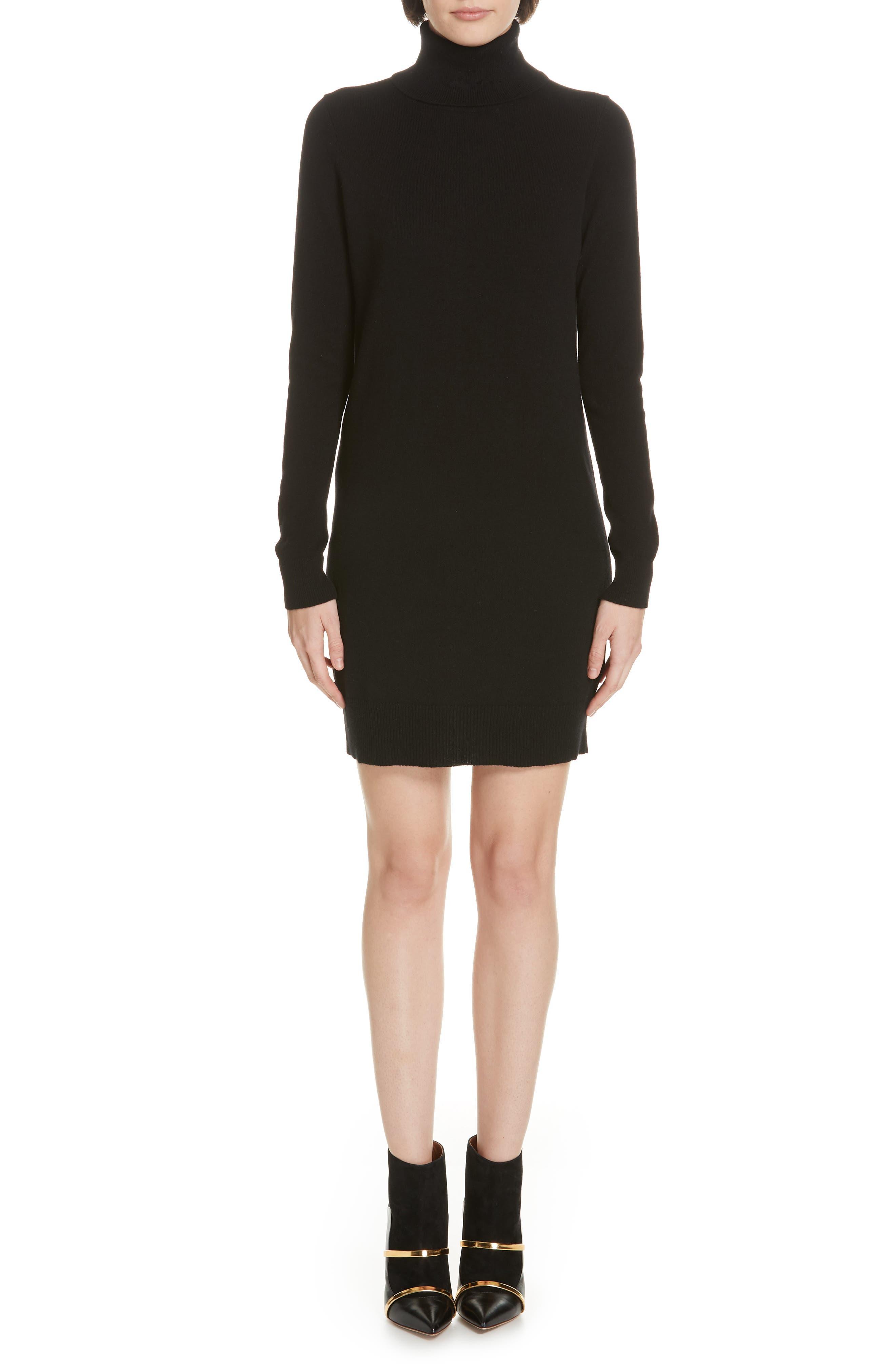Cashmere Turtleneck Sweater Dress, Main, color, 001