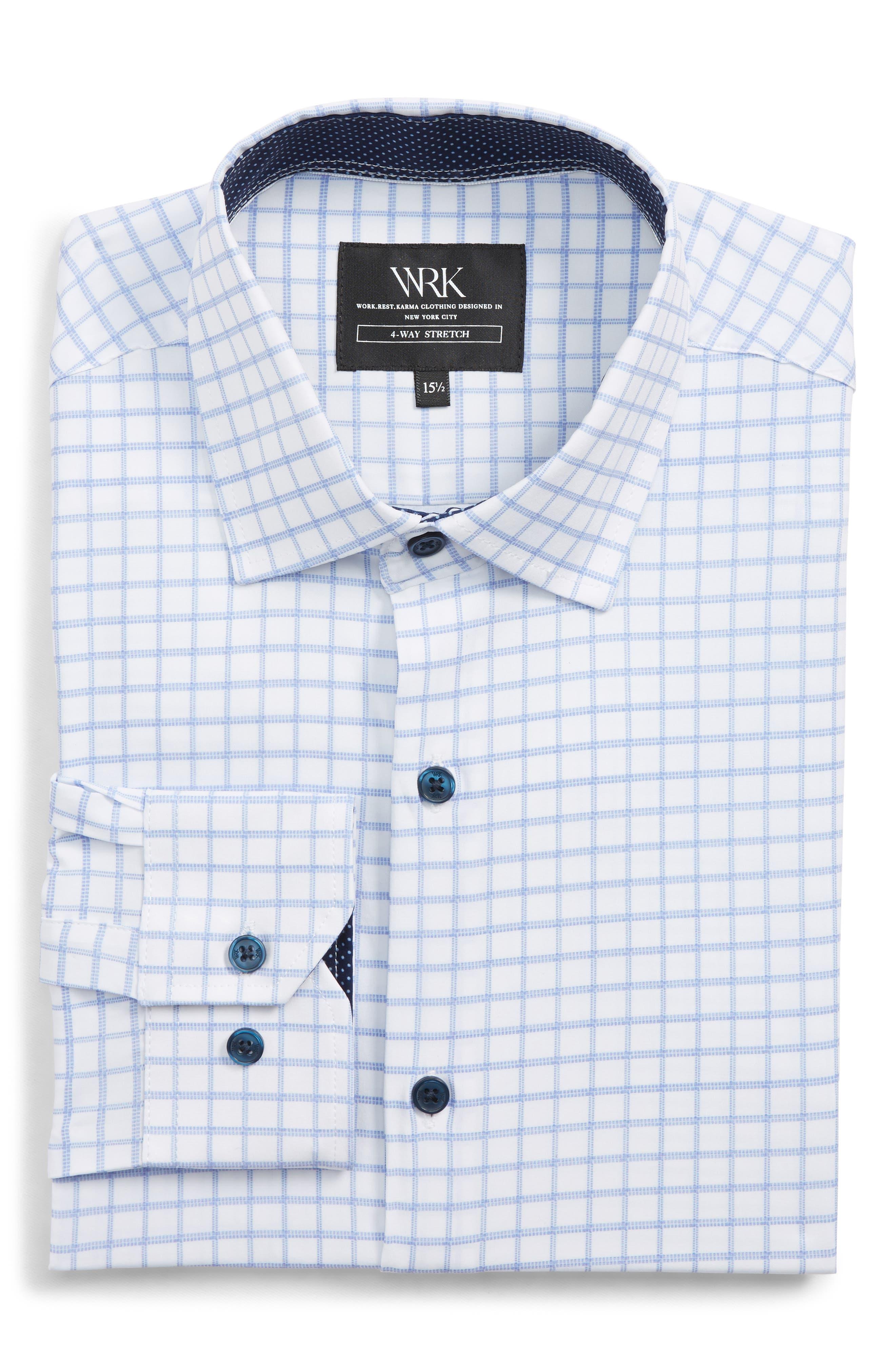 Trim Fit 4-Way Stretch Check Dress Shirt,                             Alternate thumbnail 5, color,                             WHITE