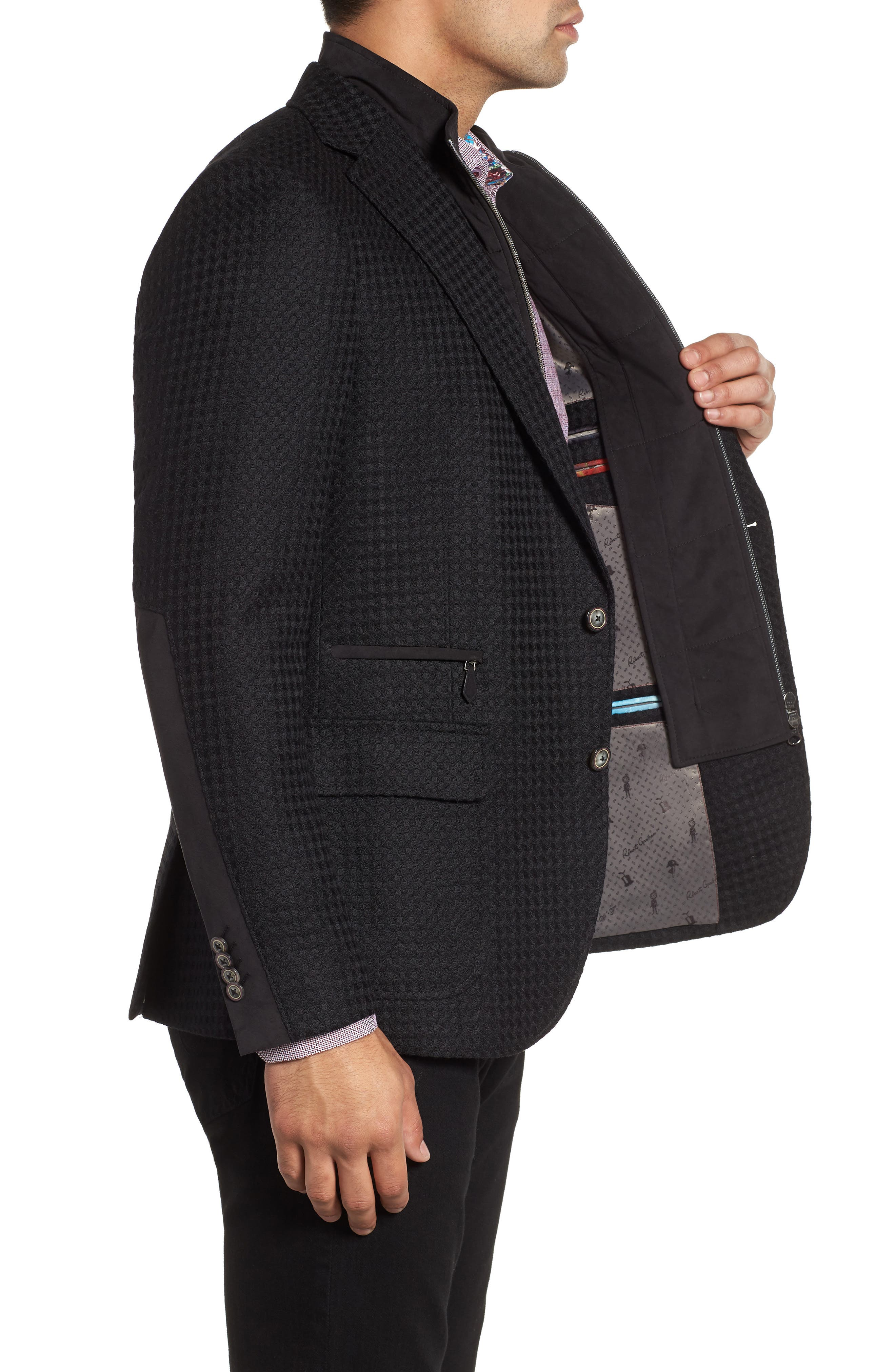 Downhill Tailored Wool Sport Coat,                             Alternate thumbnail 3, color,                             001