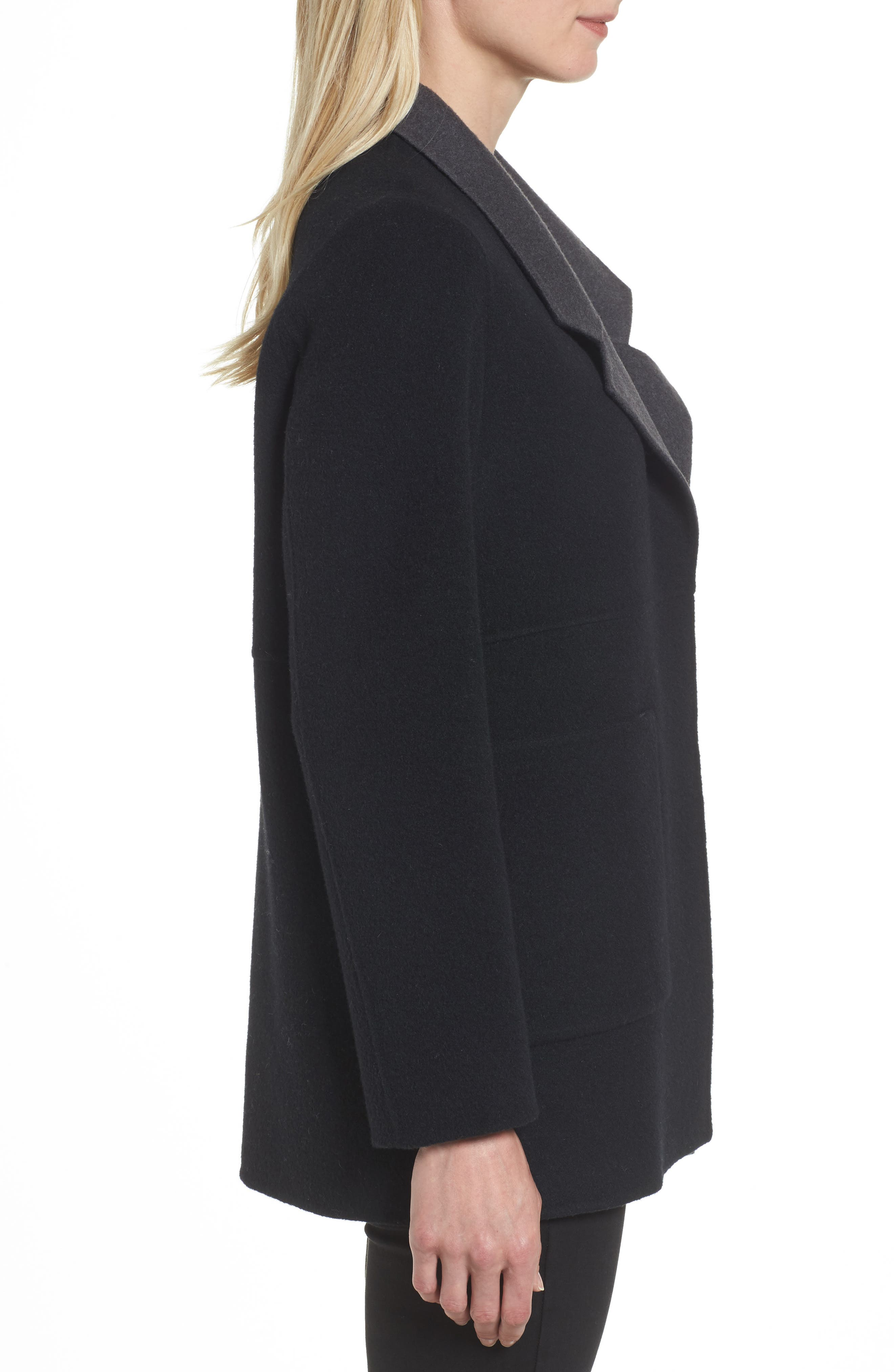Double Face Brushed Wool Notch Collar Jacket,                             Alternate thumbnail 3, color,                             010