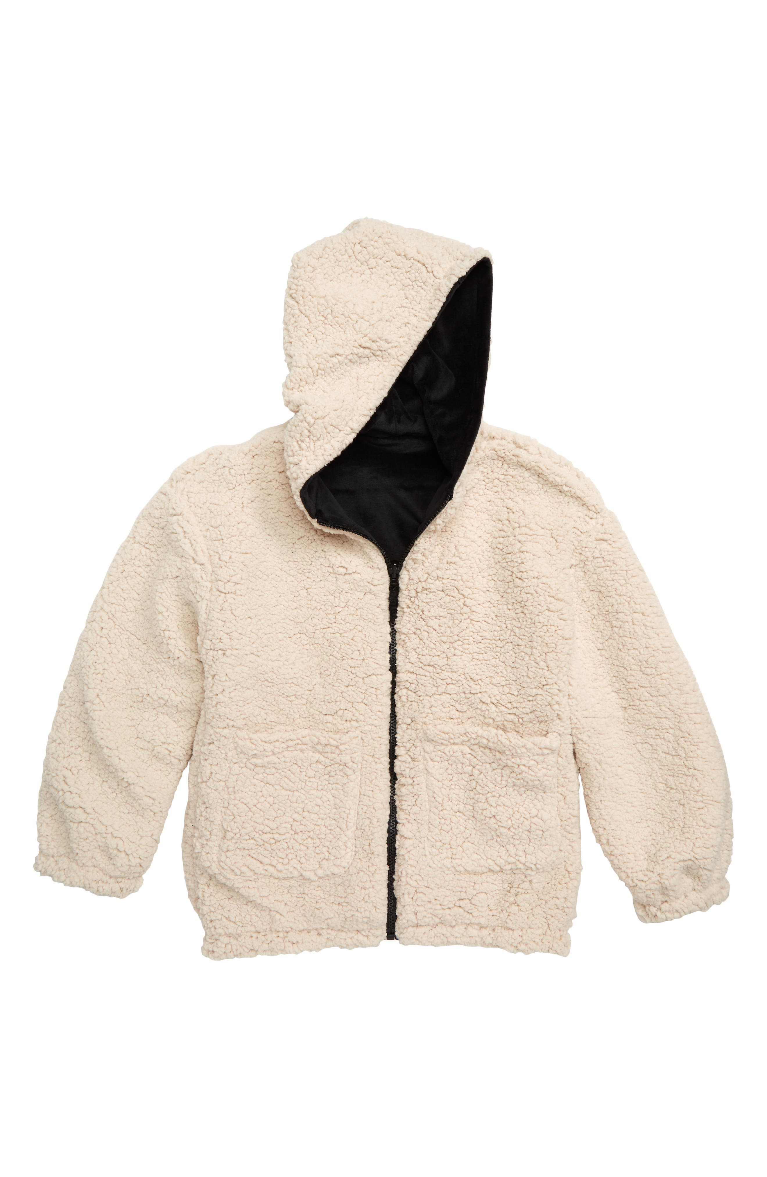Reversible Hooded Jacket,                             Alternate thumbnail 2, color,                             BLACK