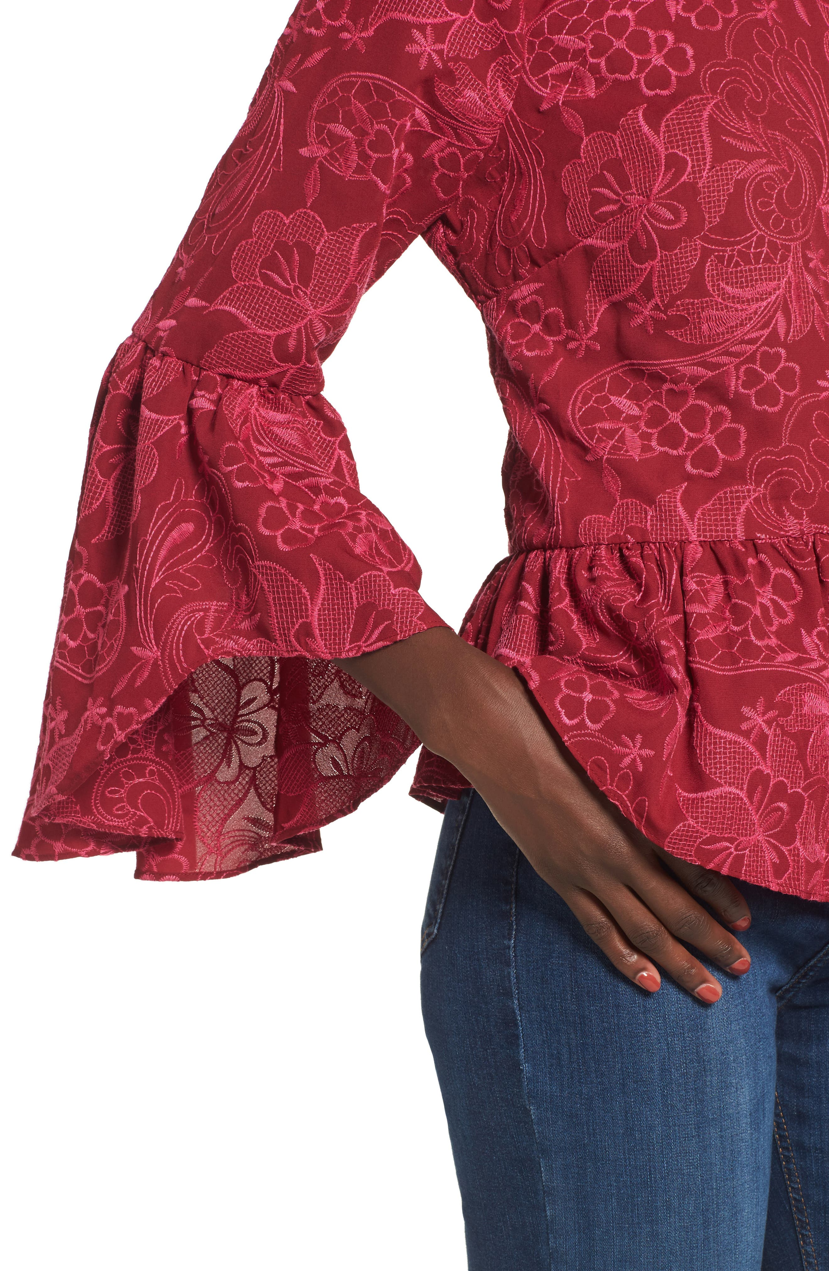 Helena Lace Bell Sleeve Top,                             Alternate thumbnail 4, color,                             400