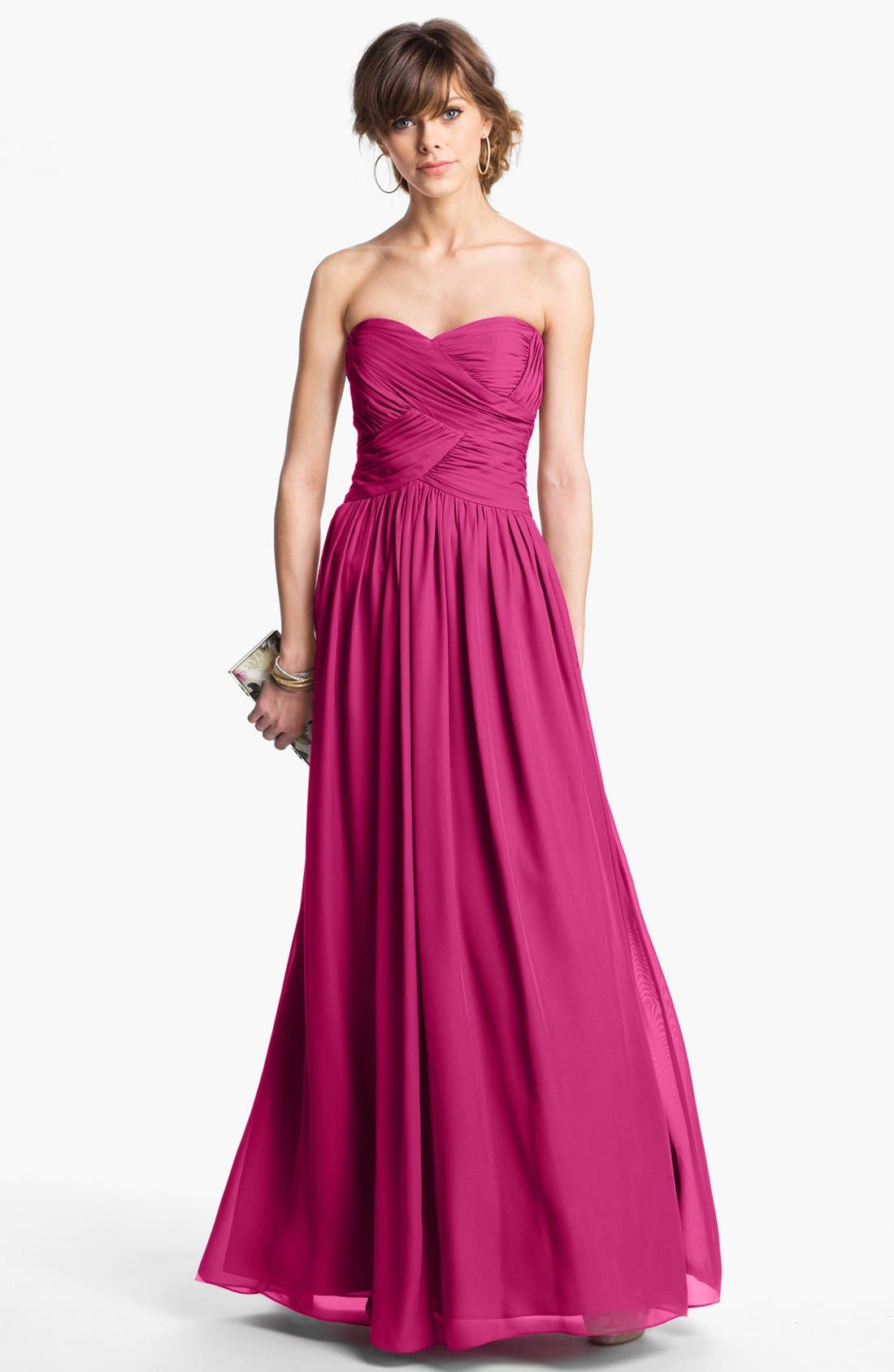 Strapless Ruched Chiffon Gown,                             Alternate thumbnail 25, color,
