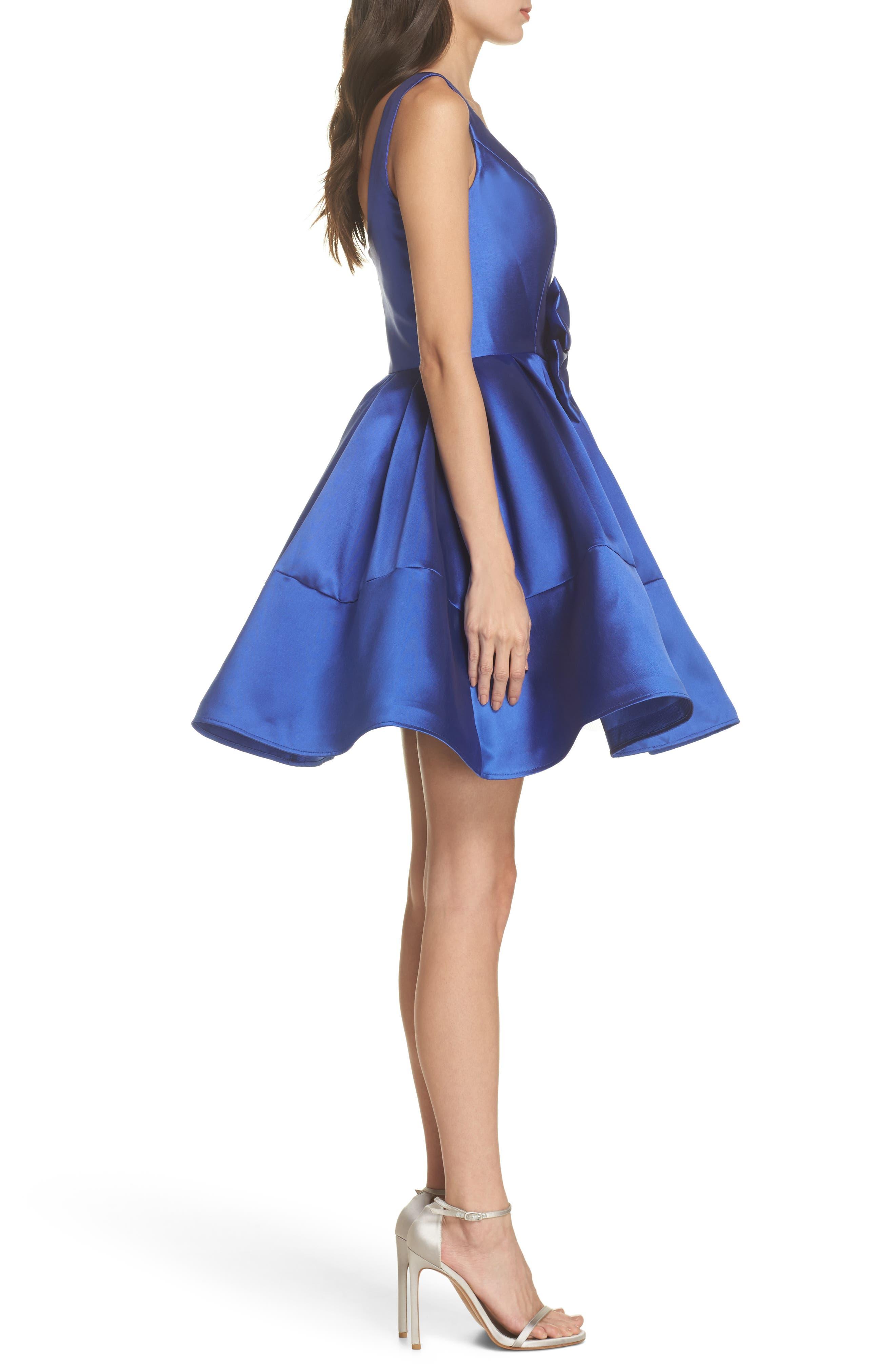Square Neck Mikado Party Dress,                             Alternate thumbnail 3, color,                             415