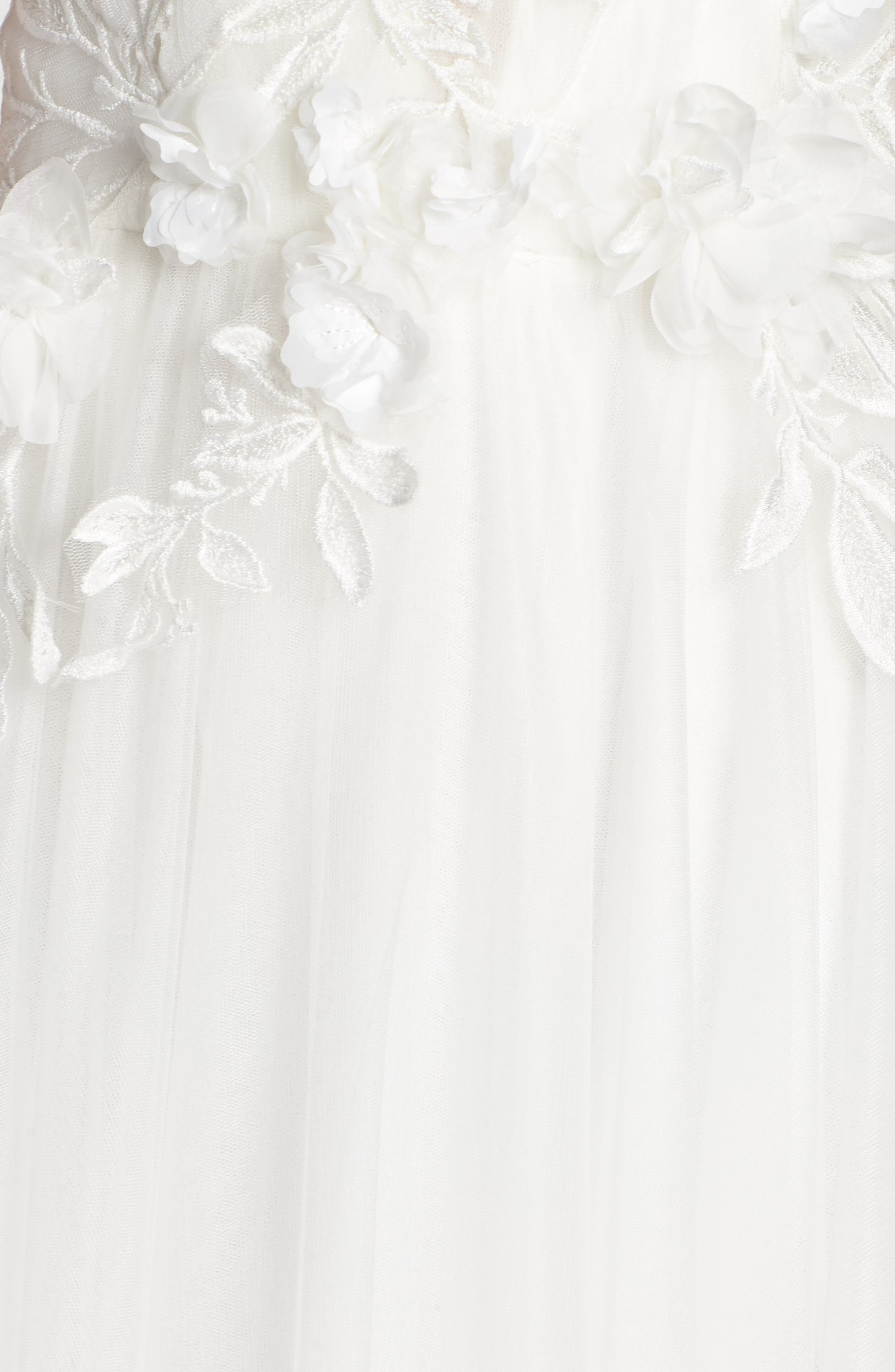 Embellished Tulle Ballgown,                             Alternate thumbnail 5, color,                             IVORY