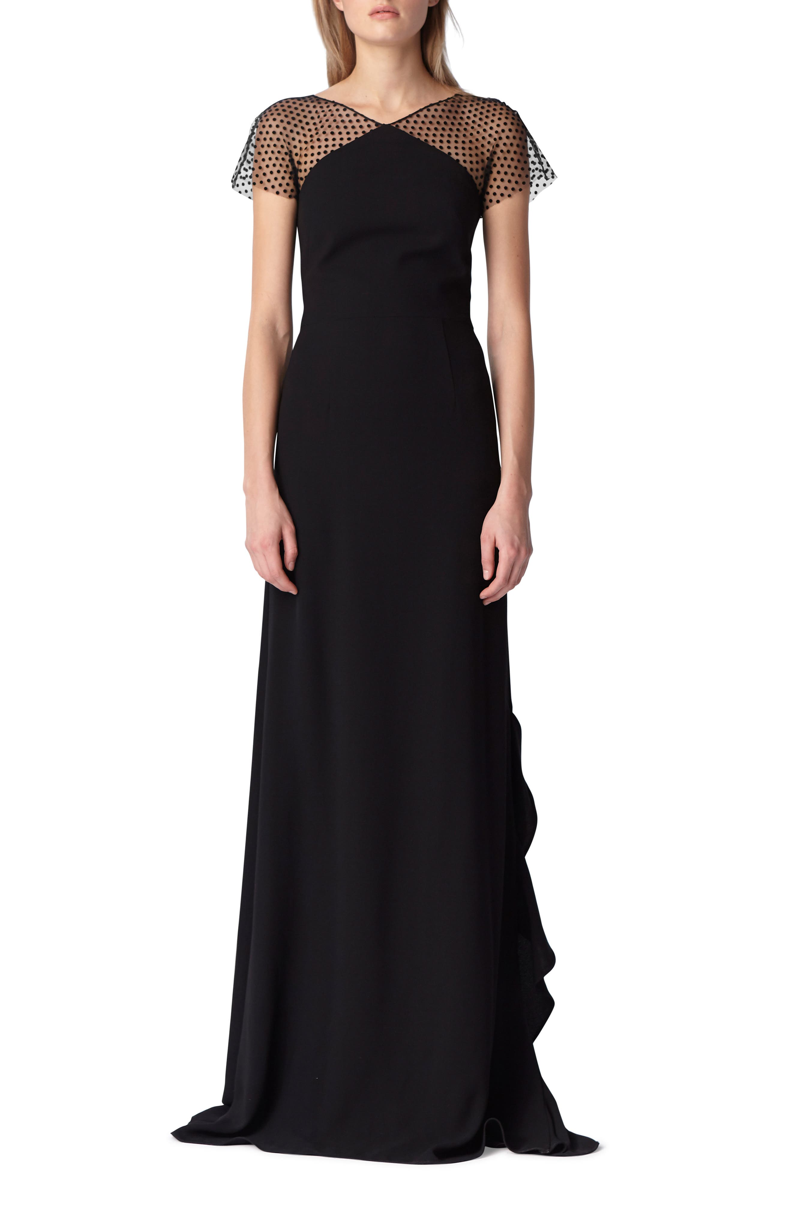 Swiss Dot & Crepe Gown,                         Main,                         color, 001
