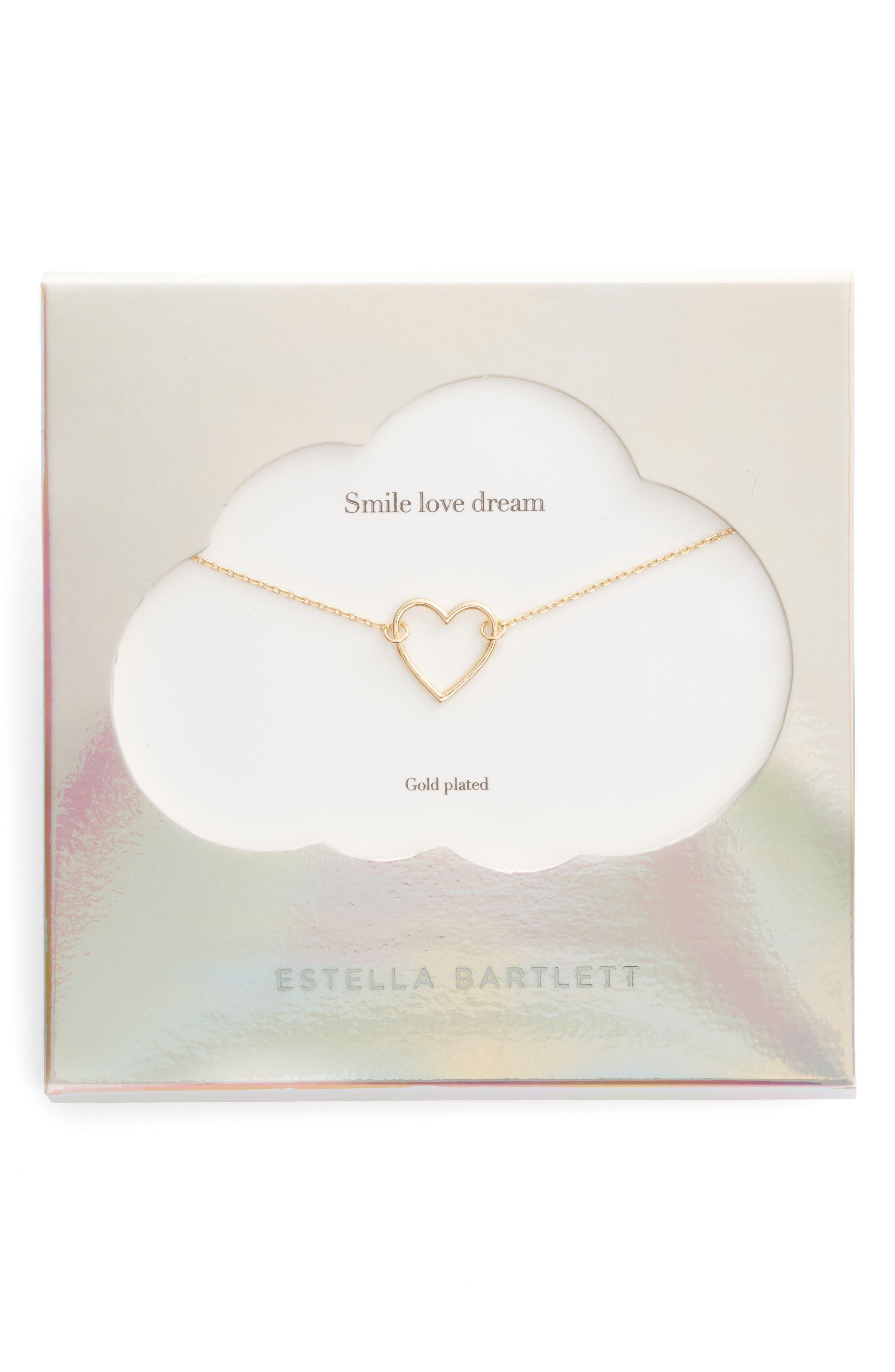 Smile Dream Love Open Heart Necklace,                         Main,                         color, GOLD