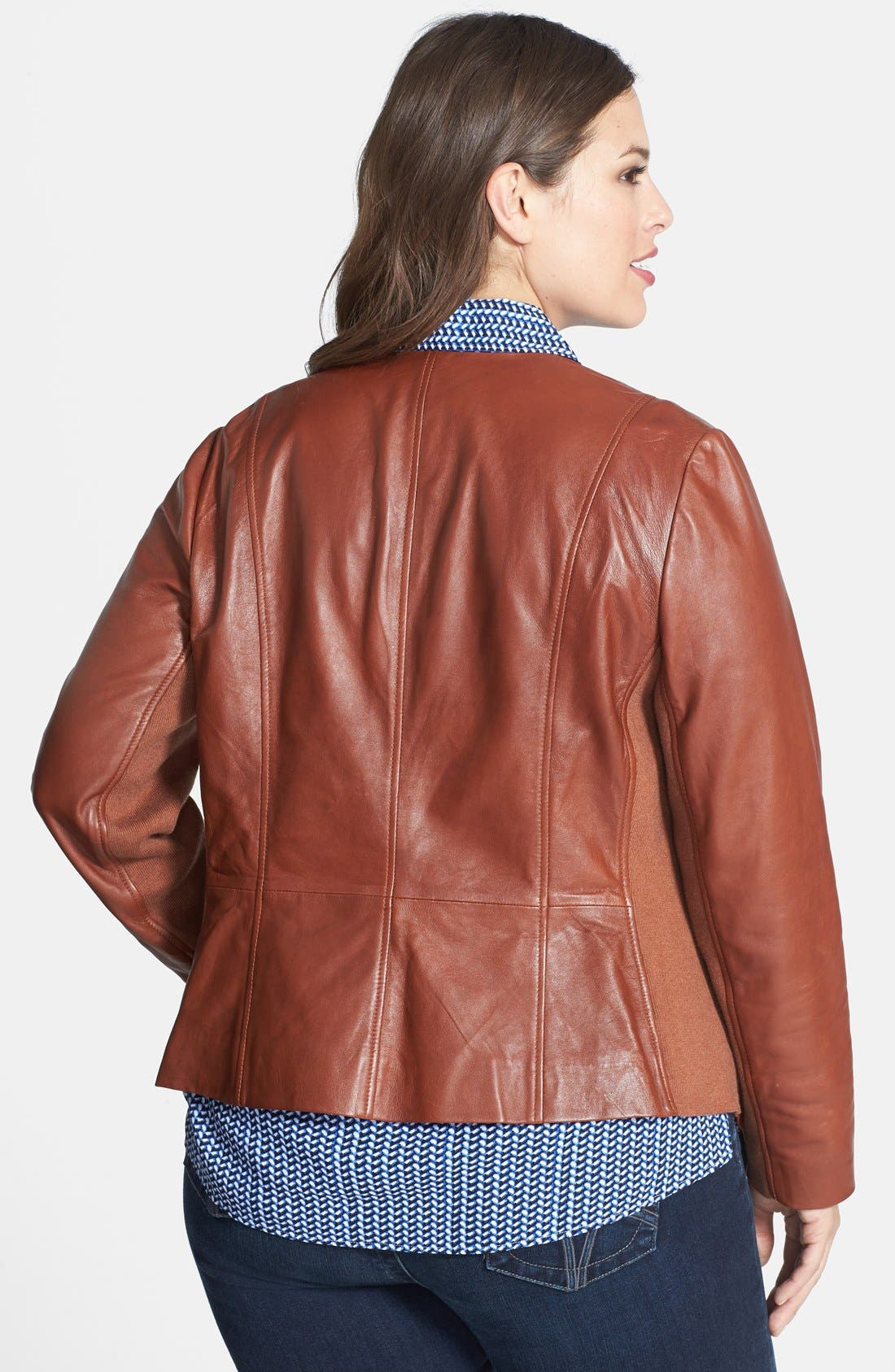 Waterfall Front Leather Jacket,                             Alternate thumbnail 4, color,