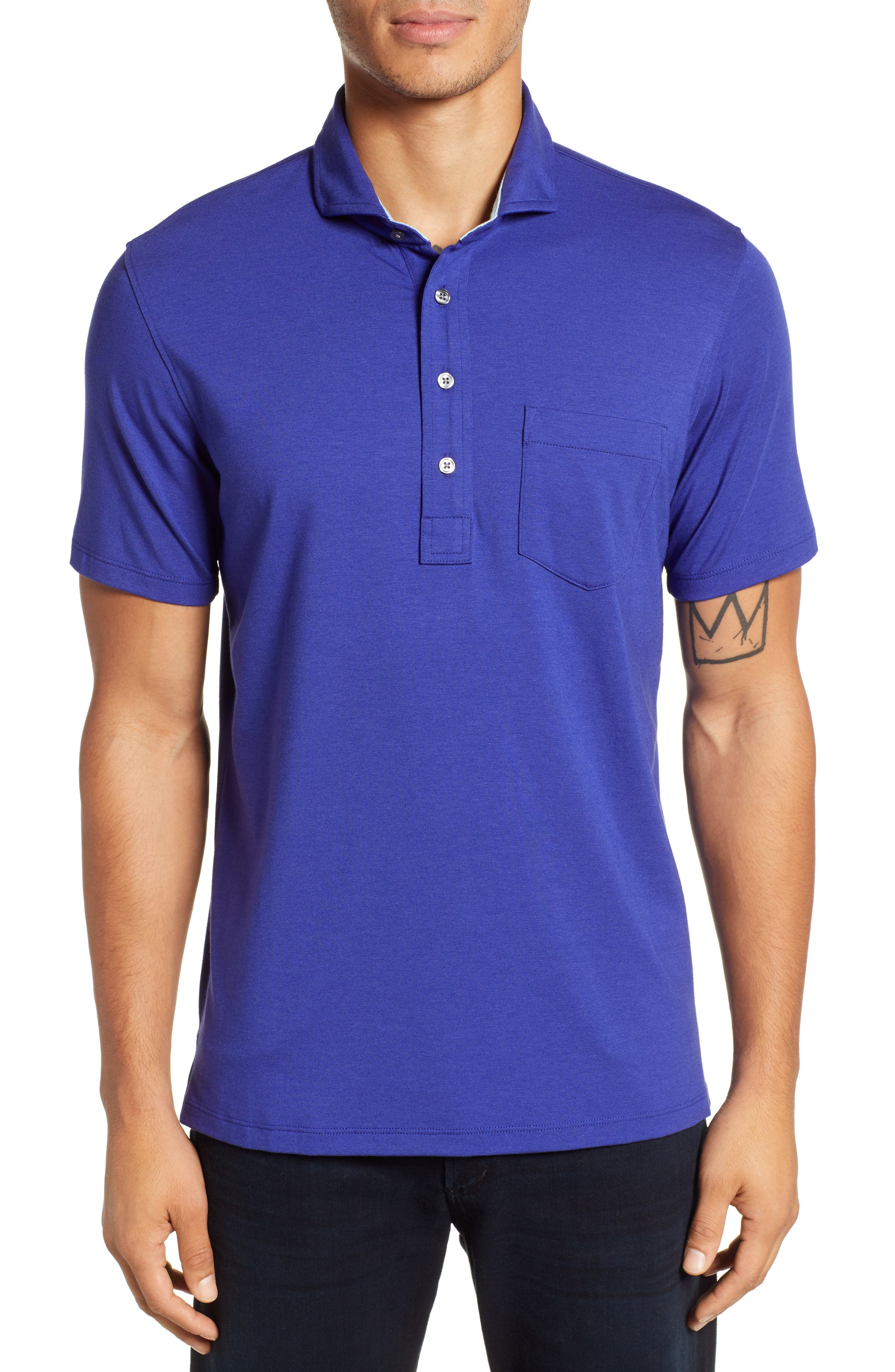 Jersey Polo,                             Main thumbnail 1, color,                             TWILIGHT