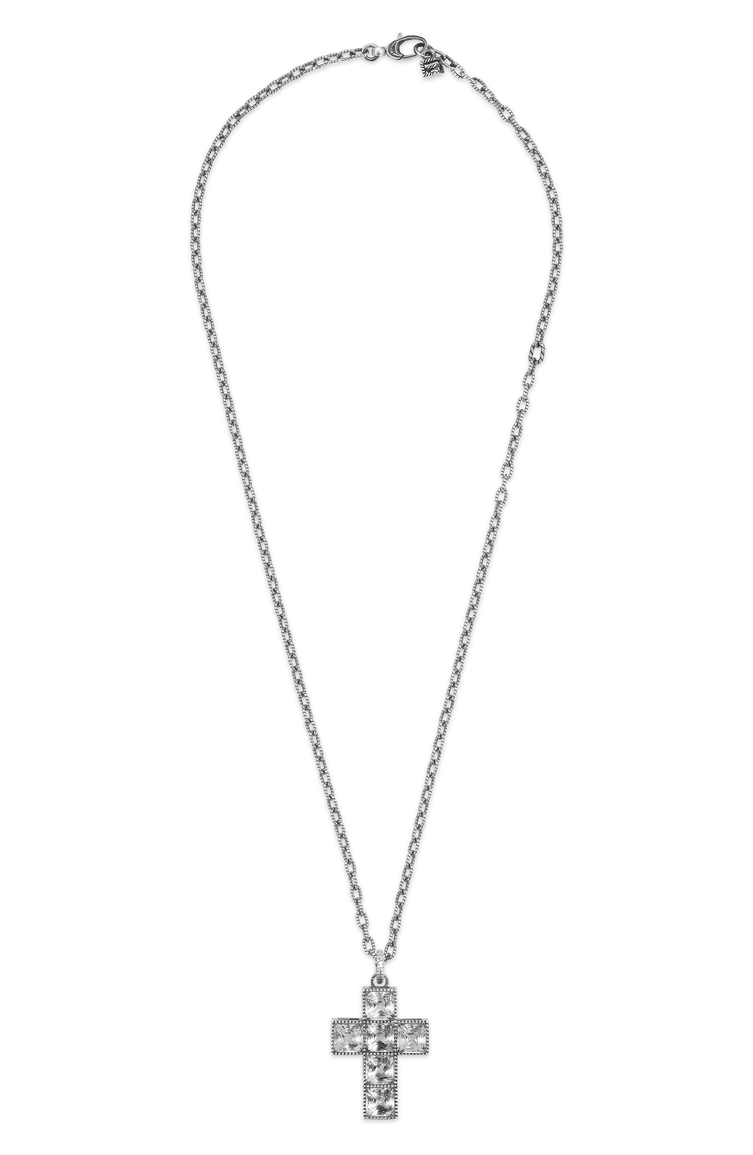 GUCCI,                             G-Cube Stone Cross Necklace,                             Main thumbnail 1, color,                             STERLING SILVER/ CRYSTAL
