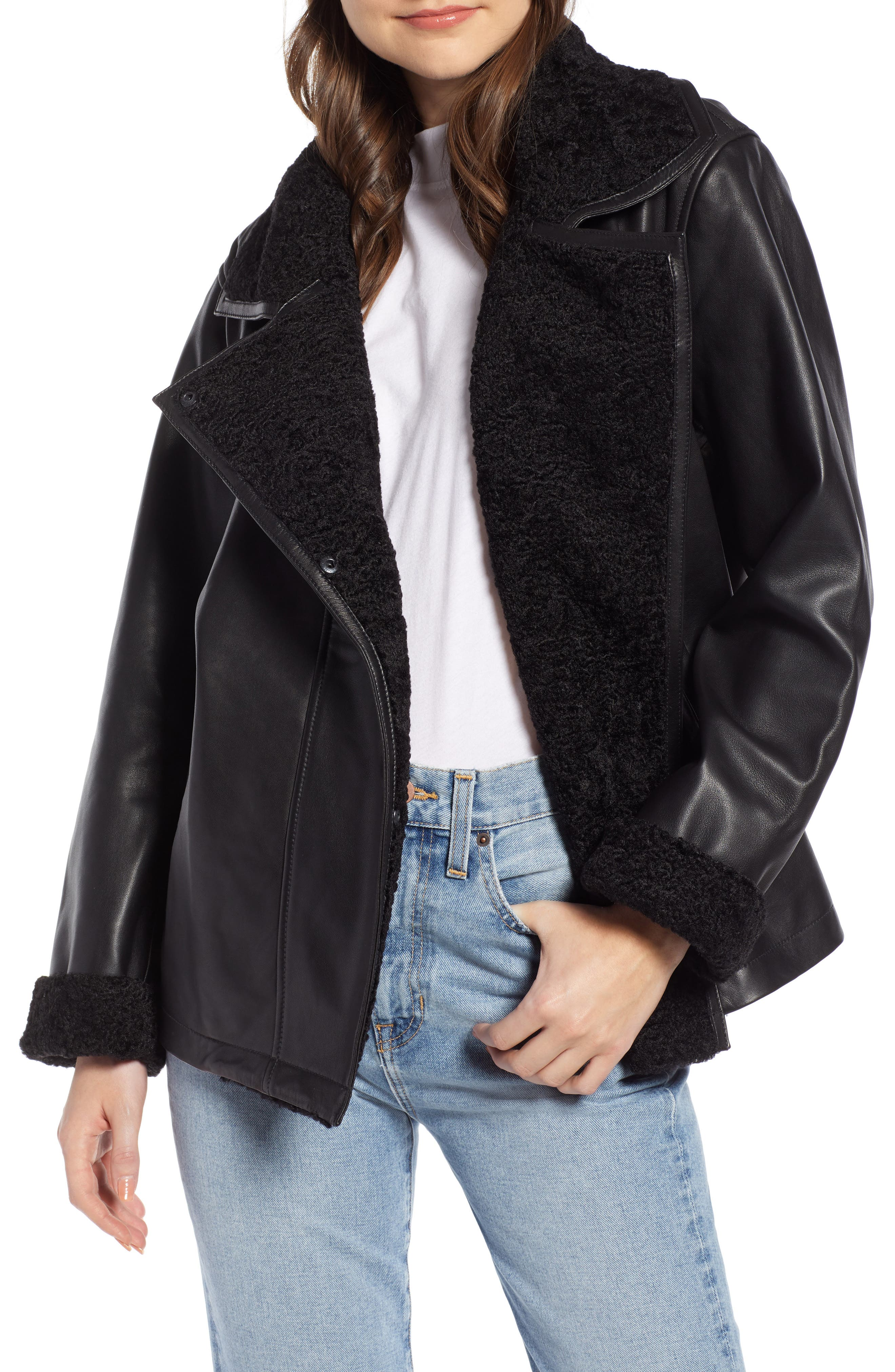SOMETHING NAVY Aviator Leather Jacket, Main, color, 001